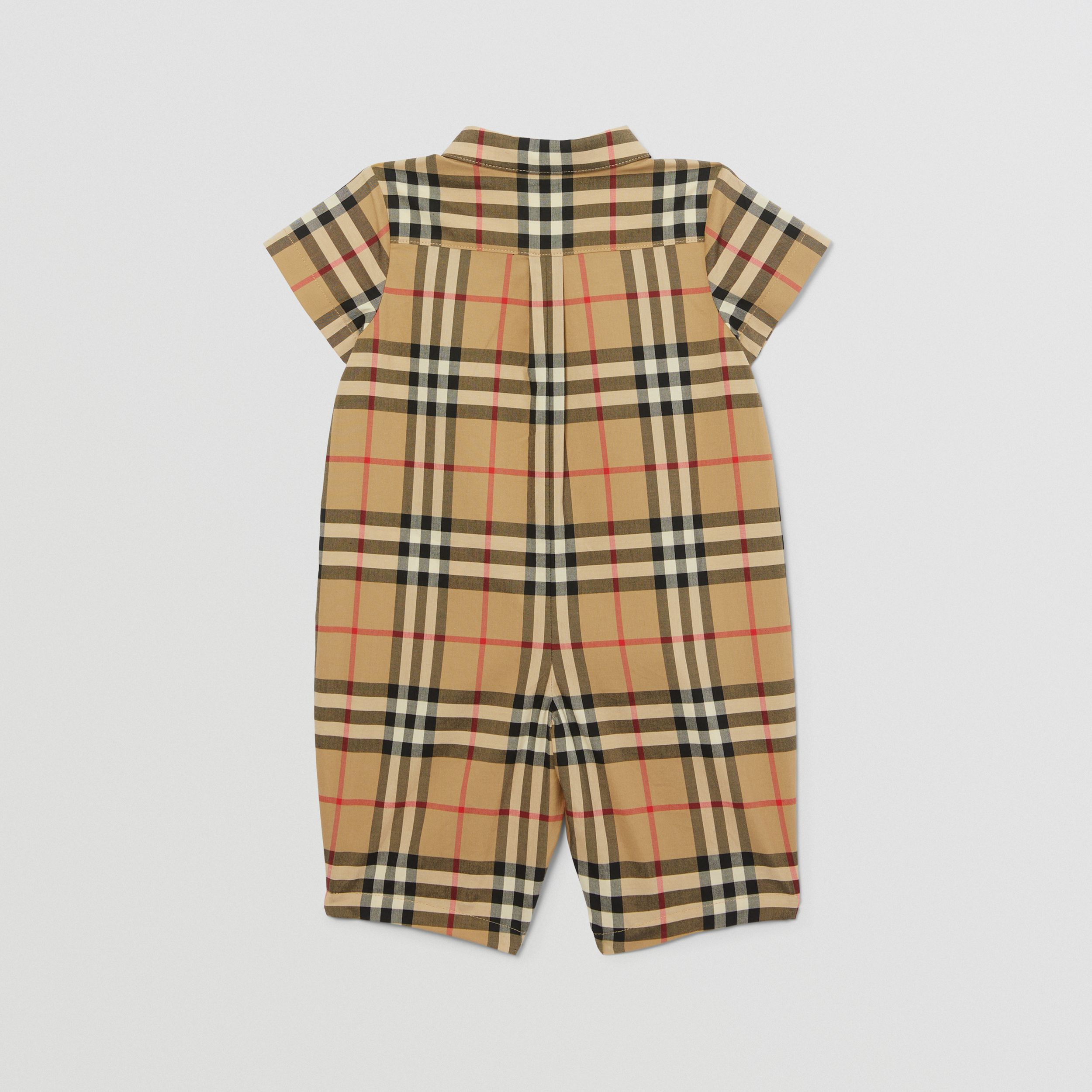 Vintage Check Cotton Playsuit in Archive Beige - Children | Burberry United Kingdom - 4