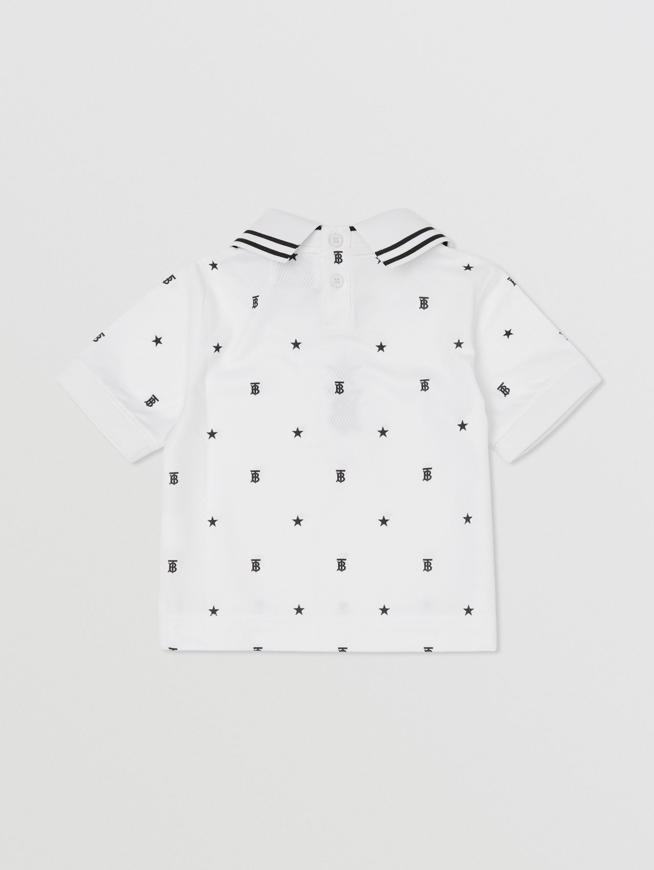 Star and Monogram Motif Jersey Mesh Polo Shirt in Black