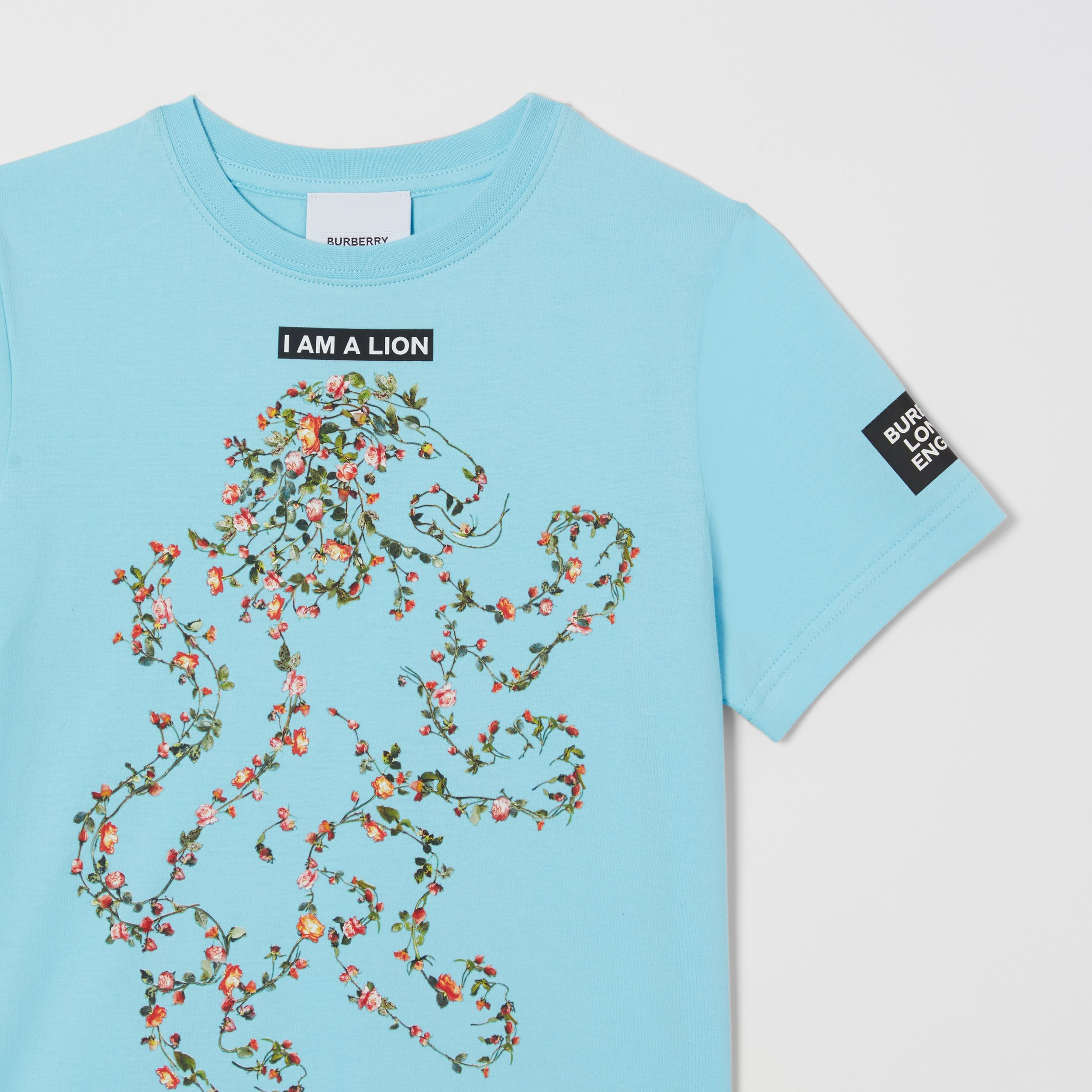 Montage Print Cotton T-shirt in Pale Turquoise | Burberry - 3