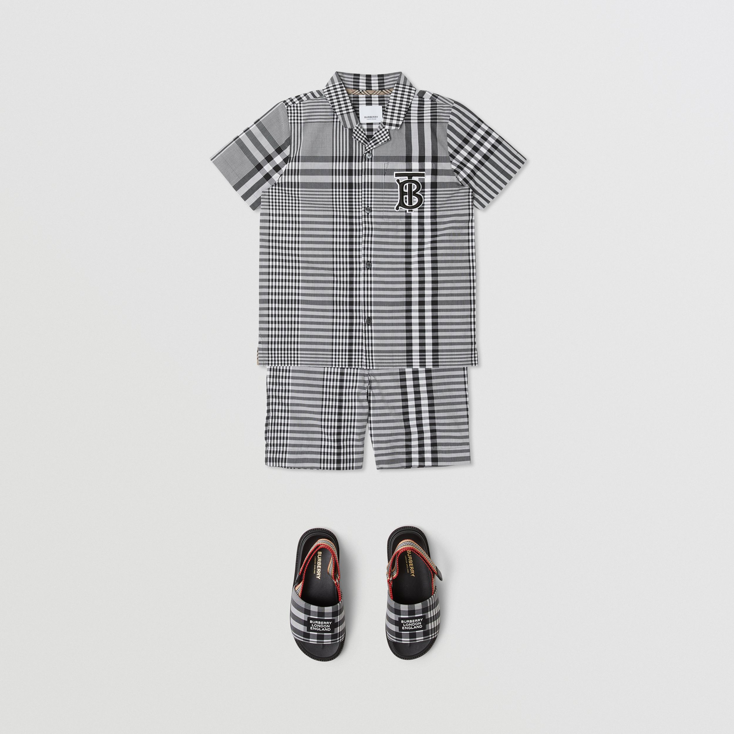 Short-sleeve Monogram Motif Check Cotton Shirt in Black | Burberry - 3