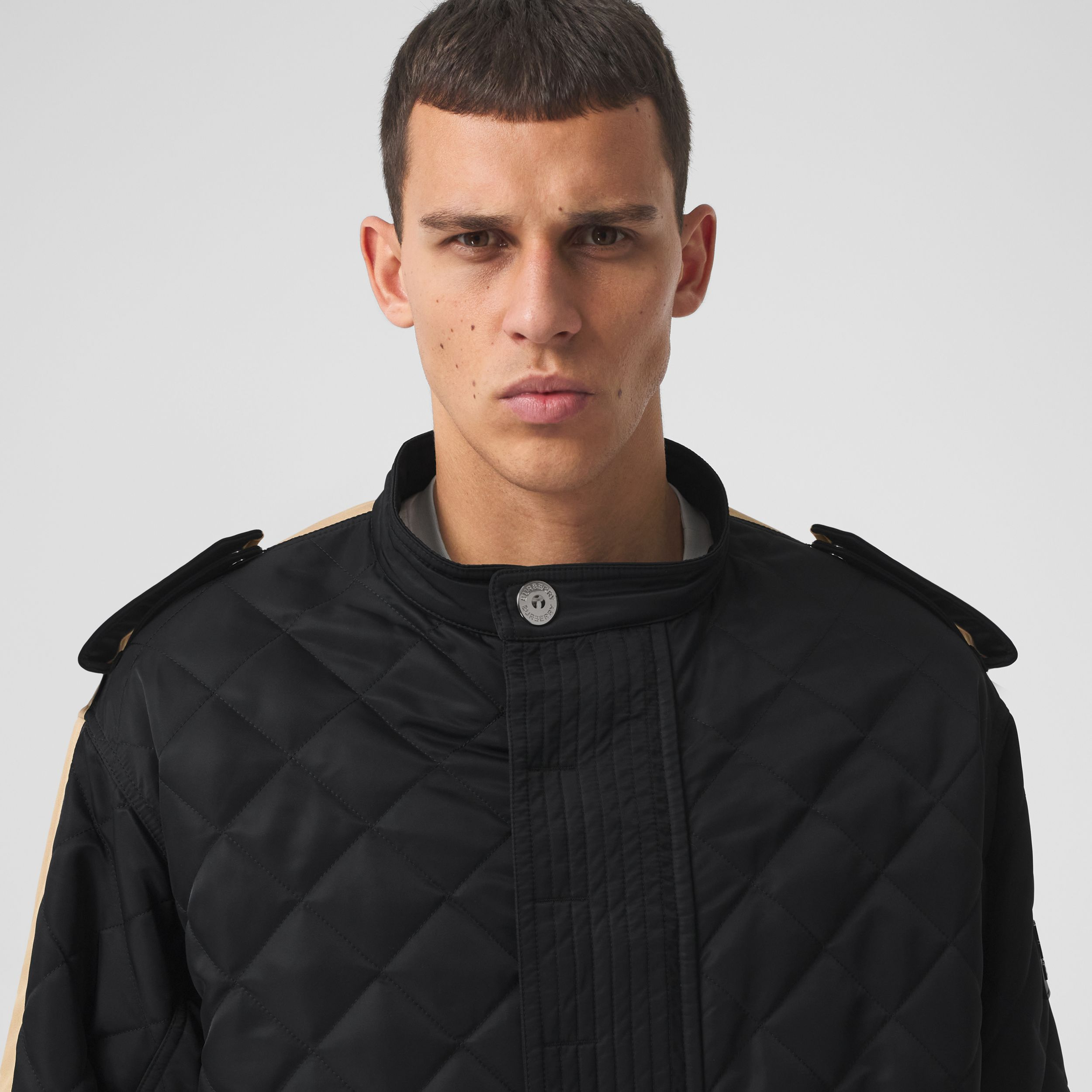 Detachable Hood Quilted Nylon and Cotton Coat in Black | Burberry - 2