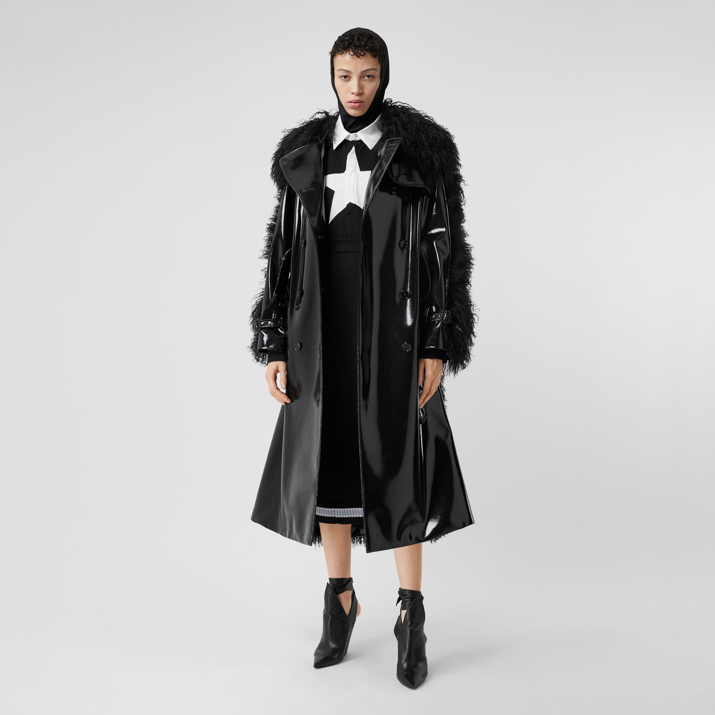 Shearling Trim Vinyl Trench Coat in Black - Women | Burberry - 1