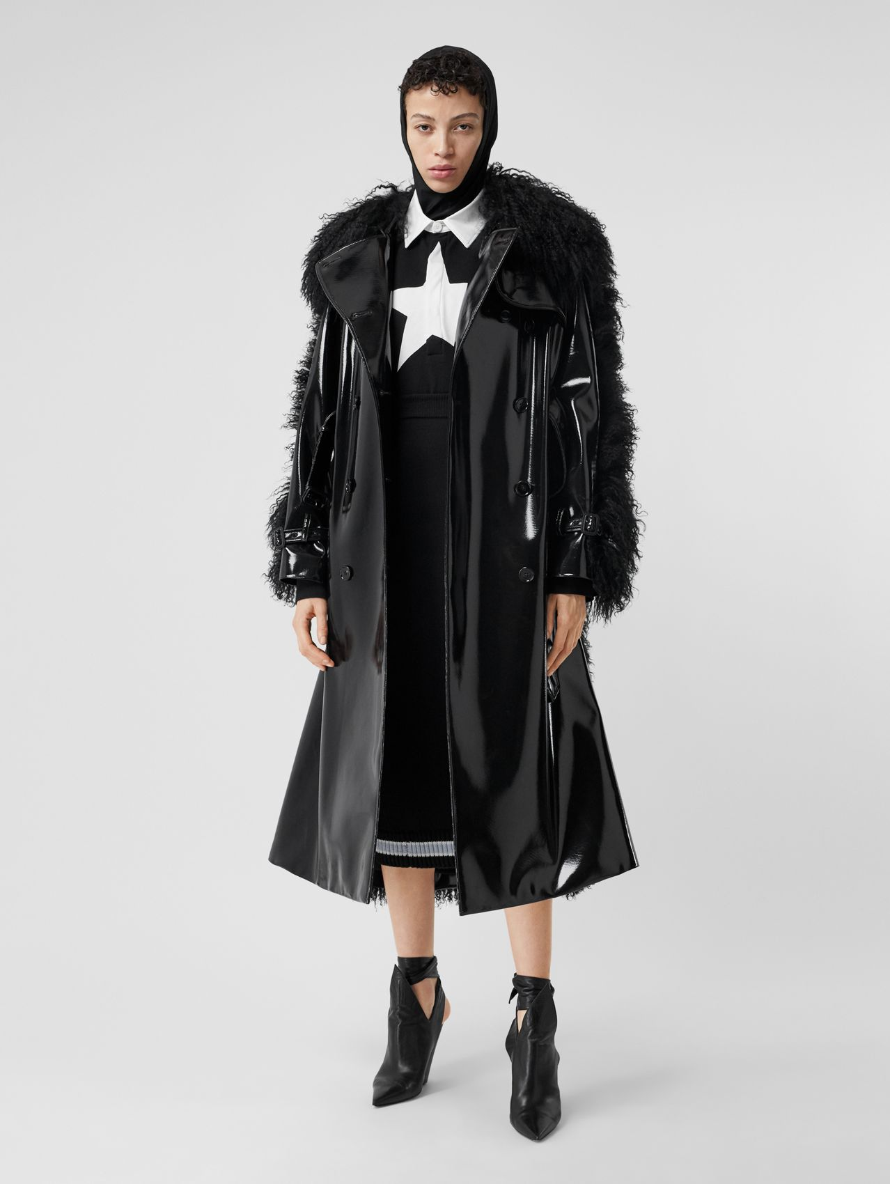 Shearling Trim Vinyl Trench Coat in Black
