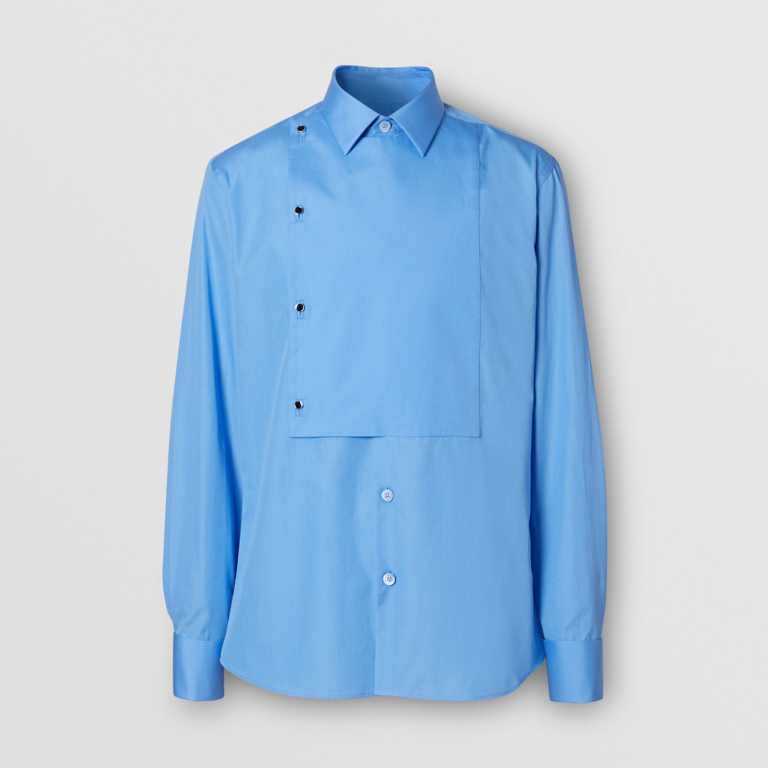 Slim Fit Bib Detail Cotton Poplin Dress Shirt in Mid Blue - Men | Burberry - 4