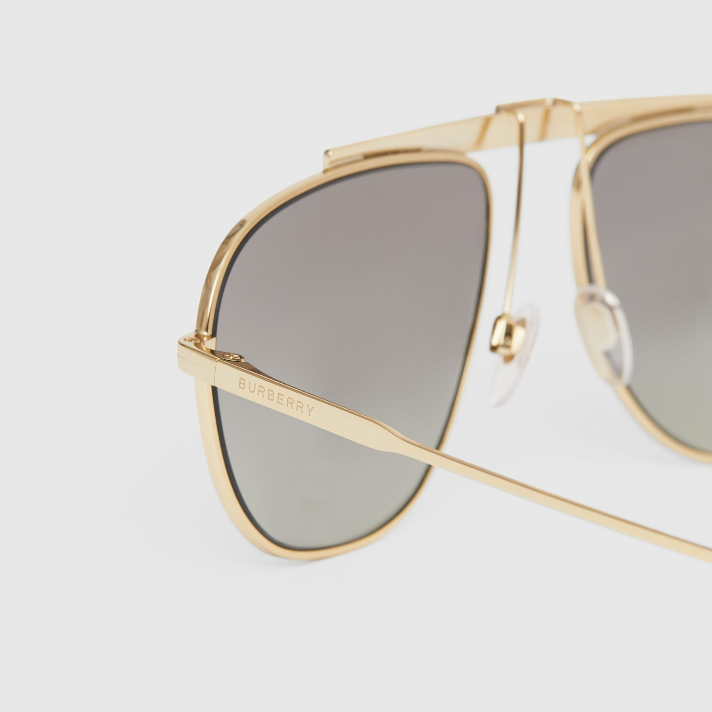 Icon Stripe Detail Pilot Sunglasses in Gold - Men | Burberry - 2