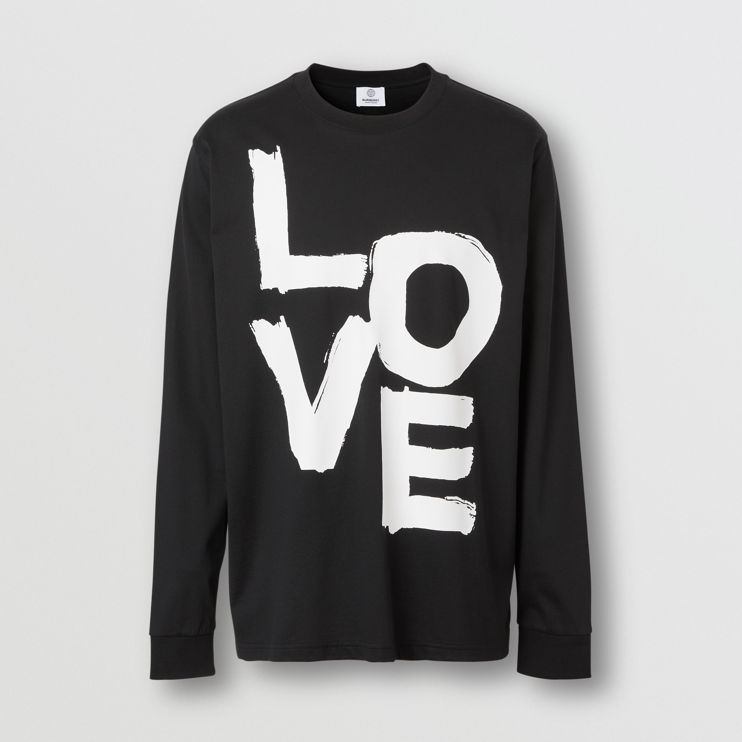 Long-sleeve Love Print Cotton Top in Black - Men | Burberry - 4