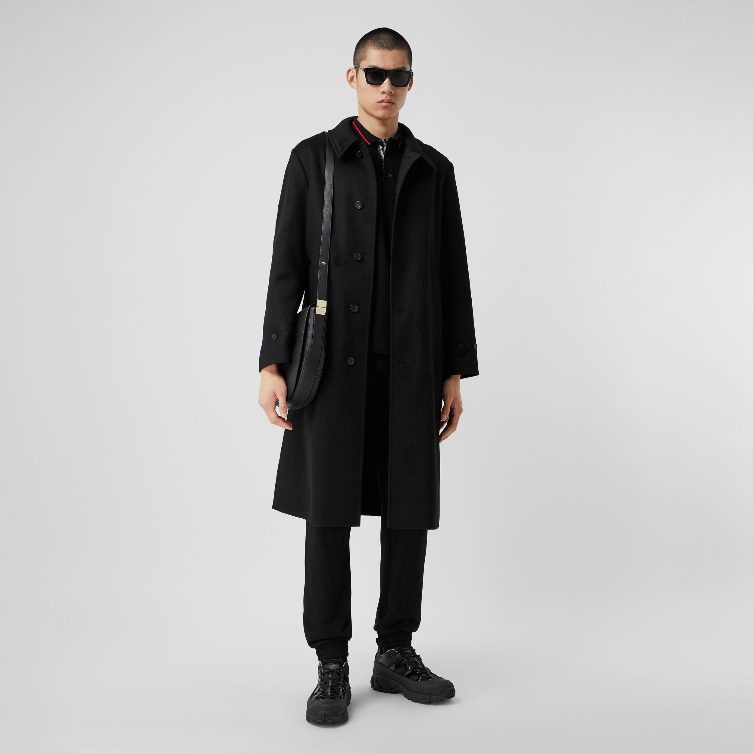 Monogram Detail Double-faced Cashmere Car Coat in Black - Men | Burberry - 1
