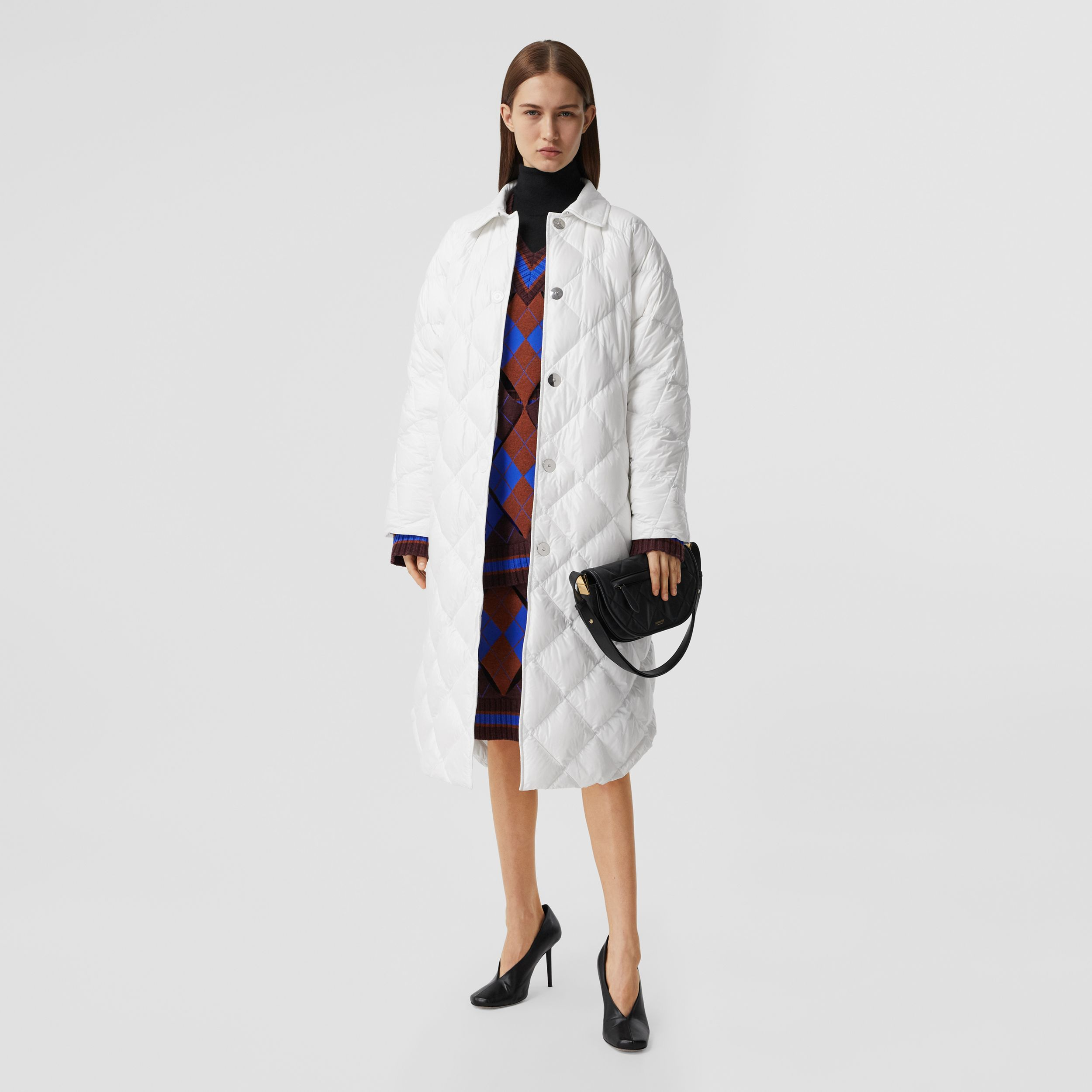 Logo Appliqué Down-filled Belted Coat in Optic White - Women | Burberry - 1