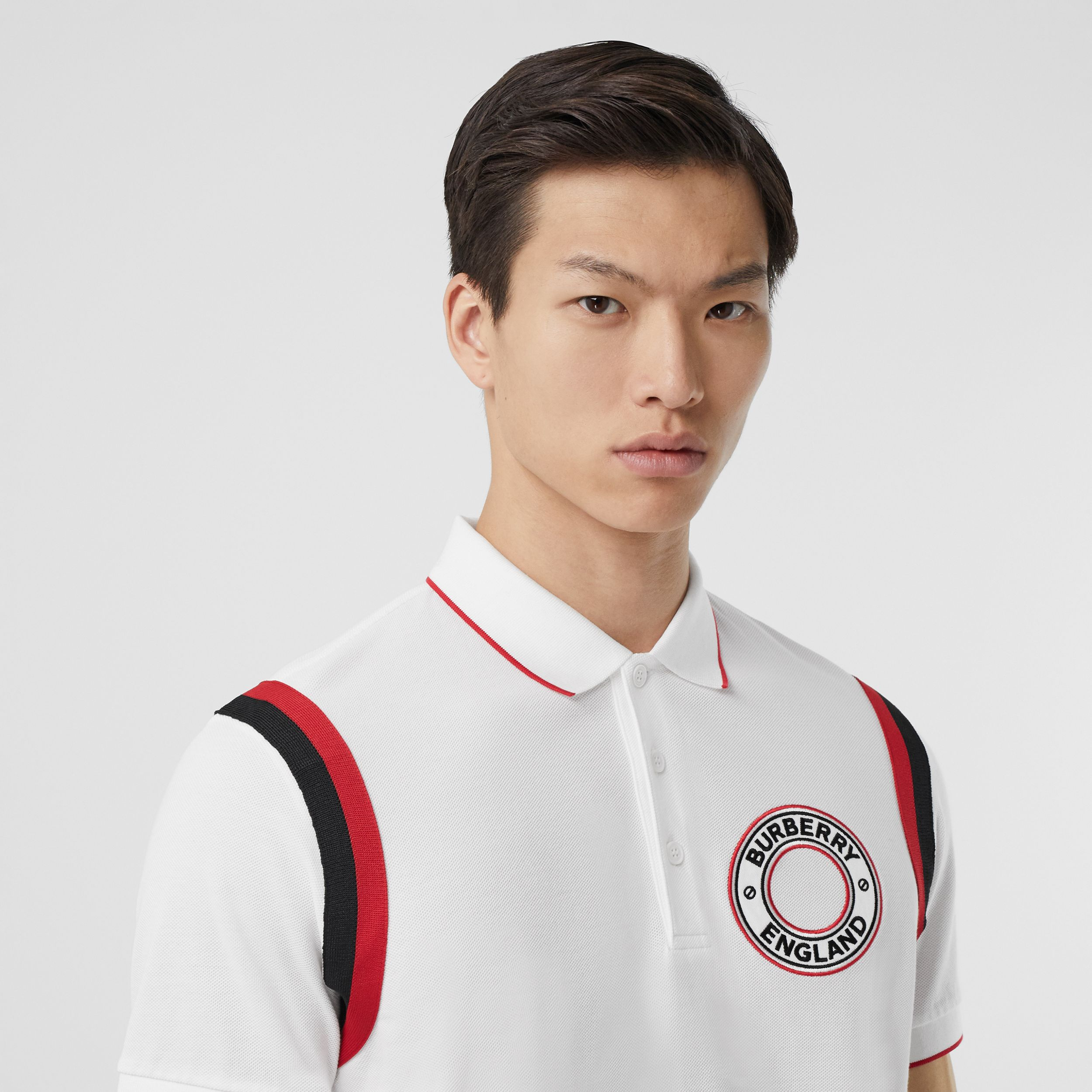 Logo Graphic Appliqué Cotton Piqué Polo Shirt in White - Men | Burberry - 2