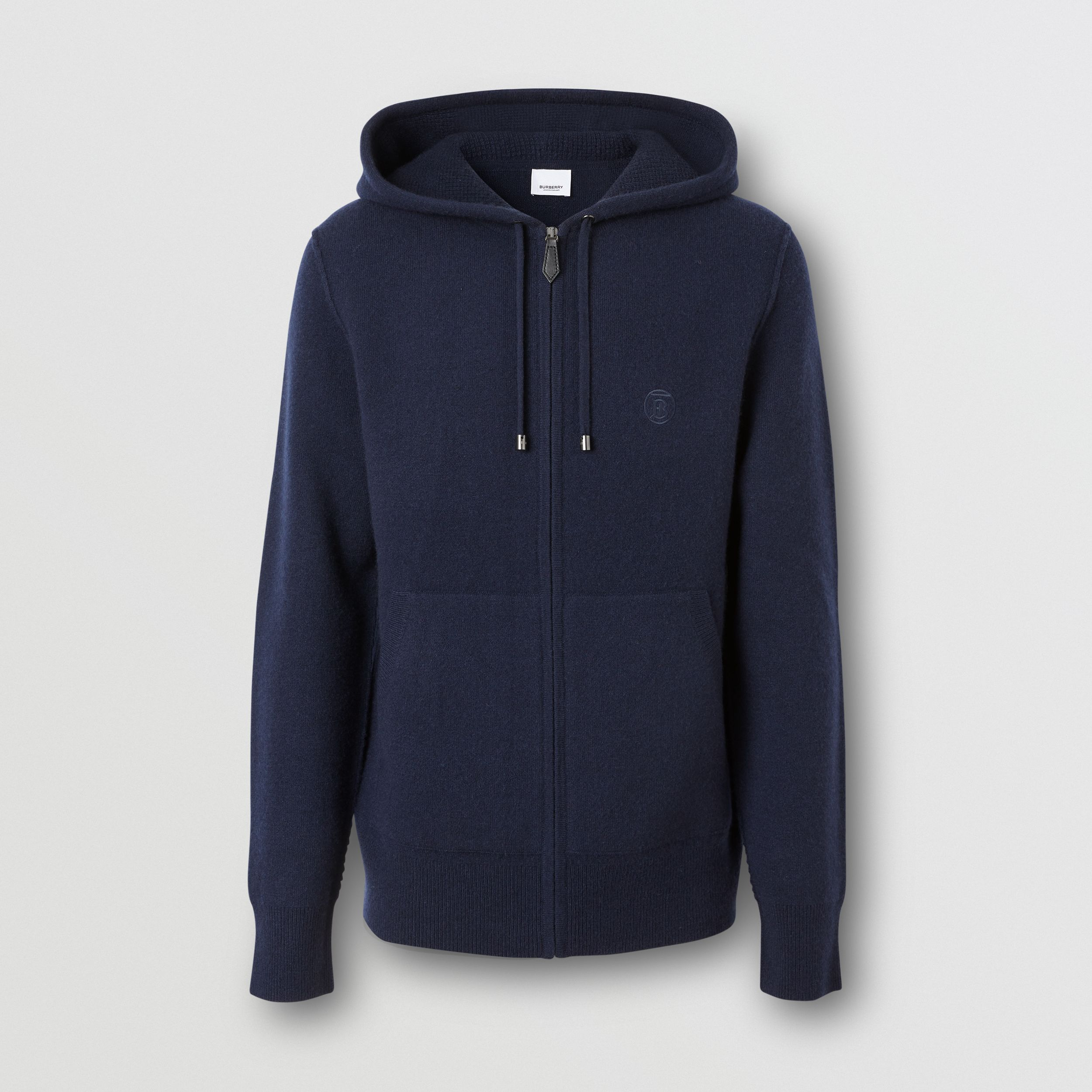 Monogram Motif Cashmere Blend Hooded Top in Navy - Men | Burberry - 4
