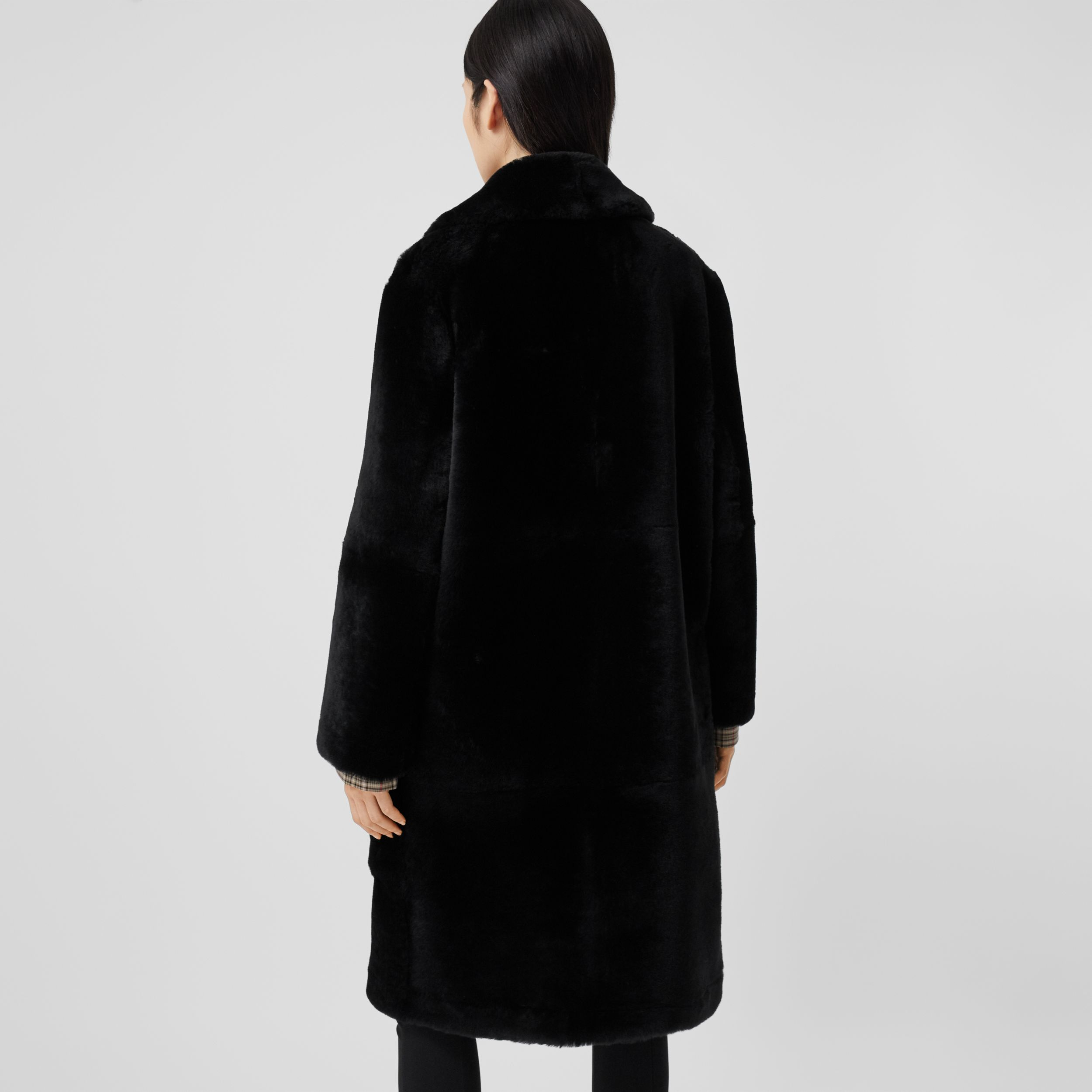 Lambskin Trim Shearling Tailored Coat in Black - Women | Burberry - 3
