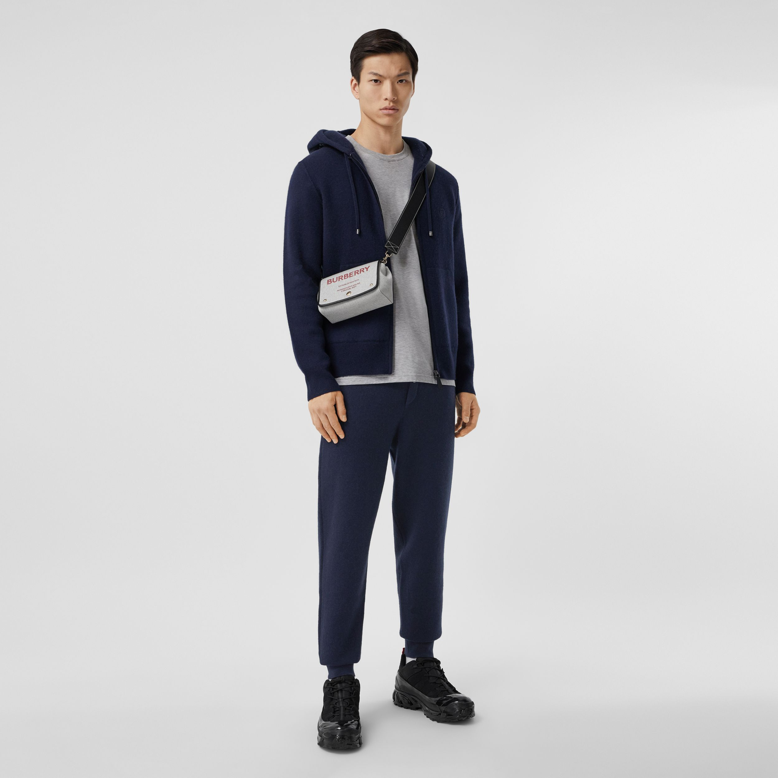 Monogram Motif Cashmere Blend Jogging Pants in Navy - Men | Burberry - 1