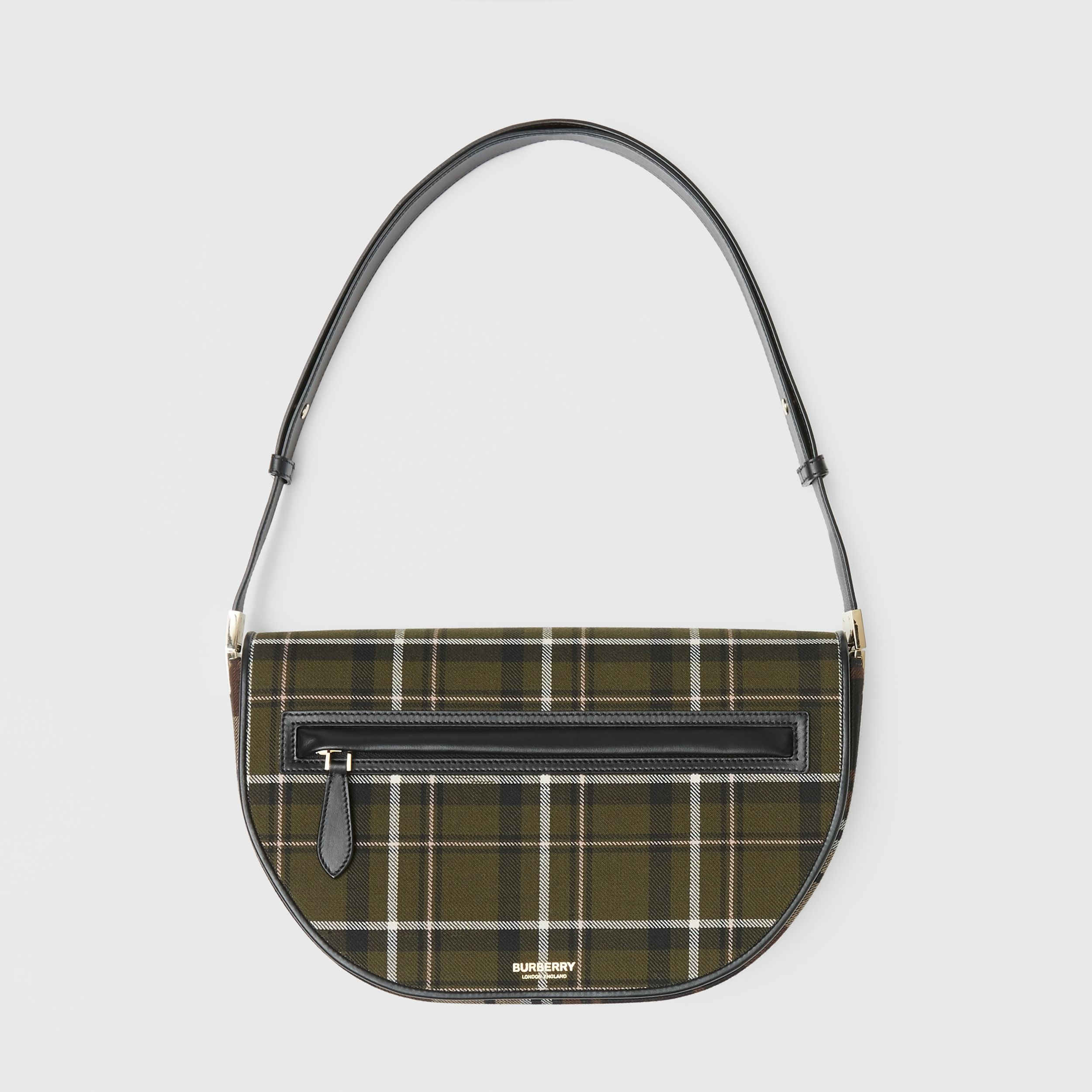Medium Tartan Wool and Leather Olympia Bag in Dark Green | Burberry Canada - 1