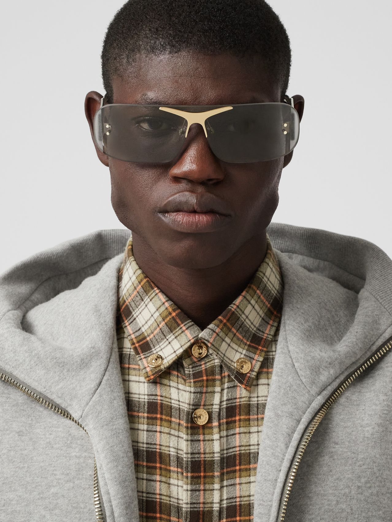 Blake Shield Sunglasses in Light Grey
