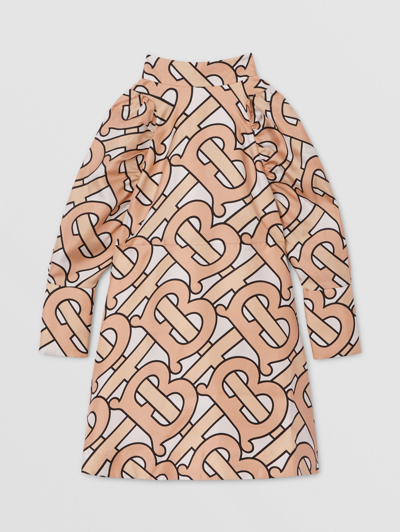 Puff-sleeve Monogram Print Silk Dress in Rose Pink