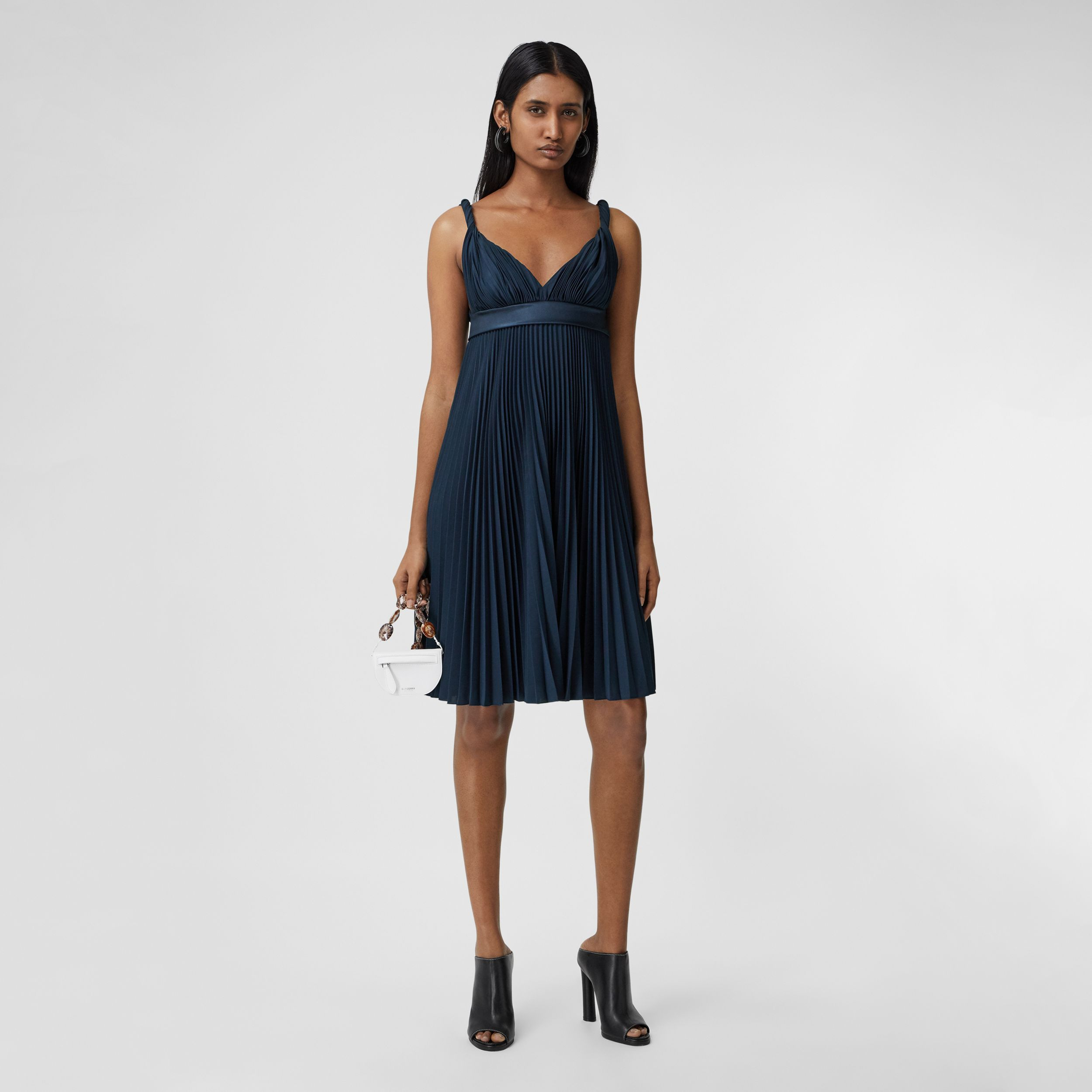 Pleated Crepe De Chine Empire-line Dress in Ink Blue - Women | Burberry United Kingdom - 1