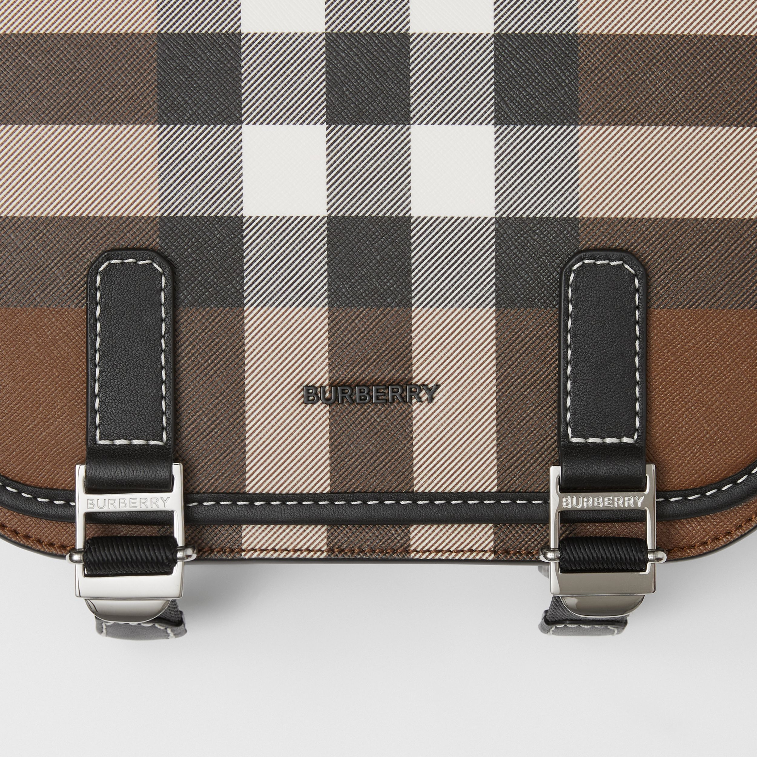 Check E-canvas Messenger Bag in Dark Birch Brown - Men | Burberry - 2
