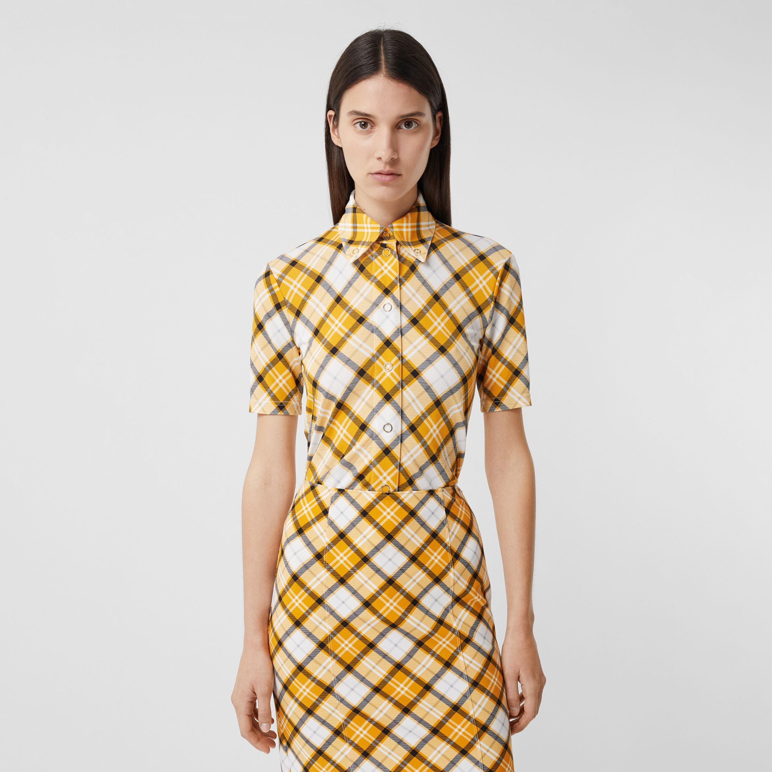 Short-sleeve Check Jersey Shirt in Citrus Orange - Women | Burberry - 4