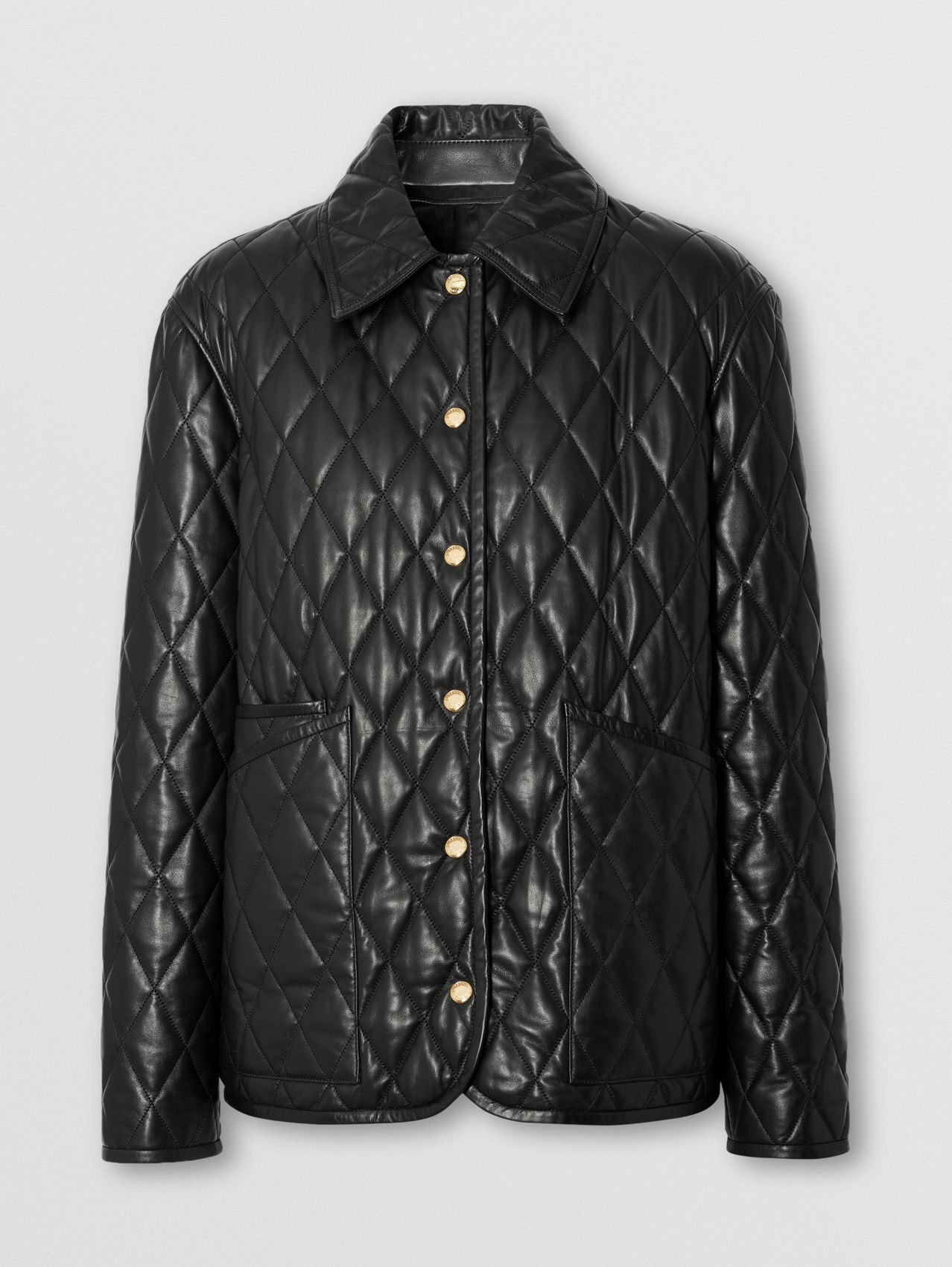 Diamond Quilted Lambskin Jacket in Black