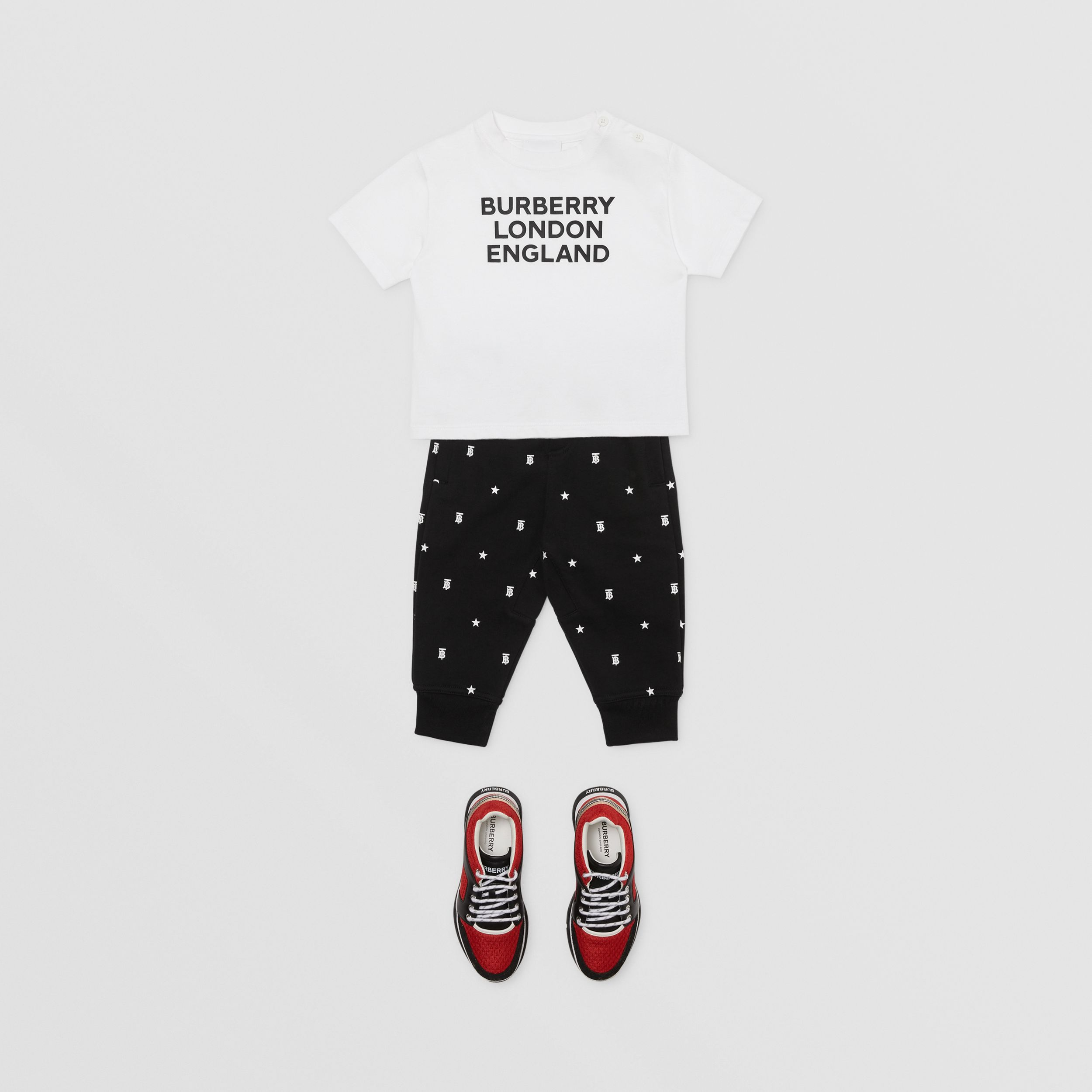 Star and Monogram Motif Cotton Jogging Pants in Black - Children | Burberry - 3
