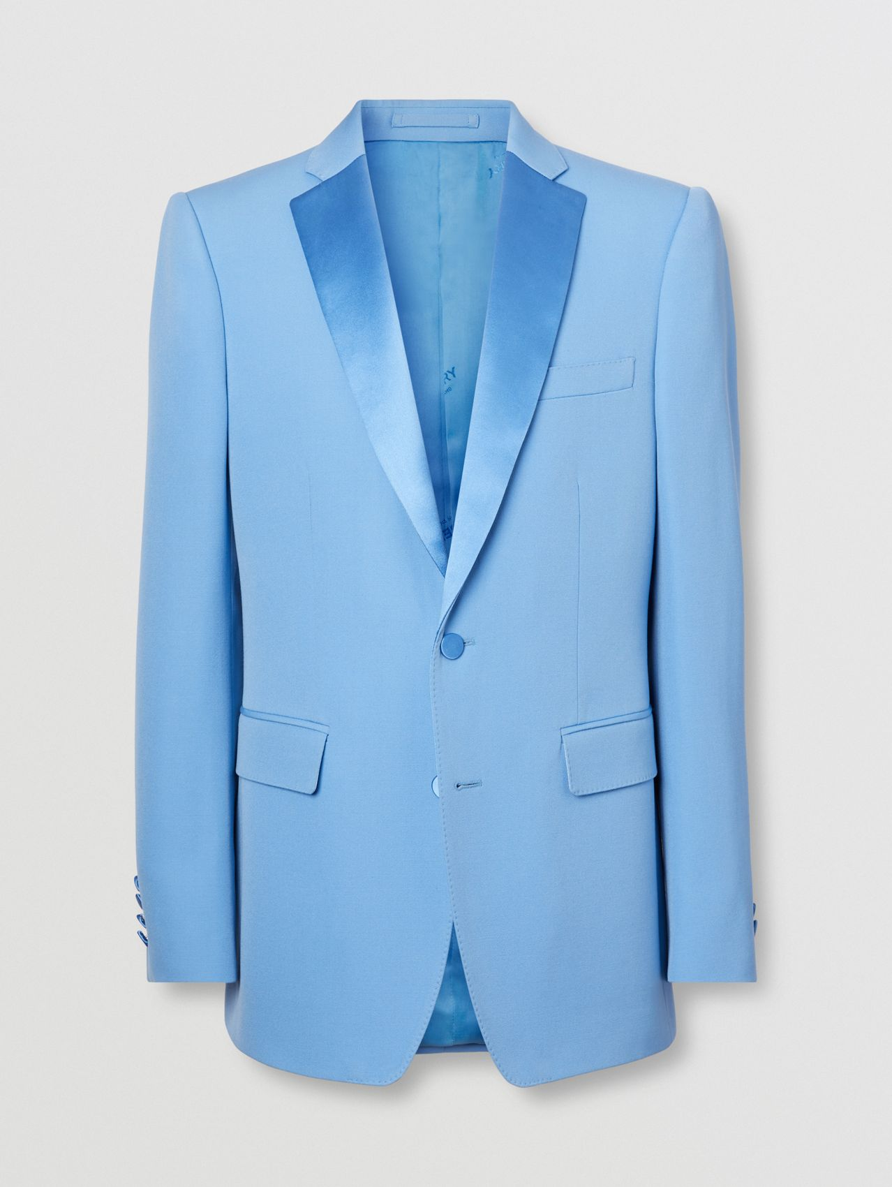 English Fit Grain De Poudre Wool Tuxedo Jacket in Vivid Cobalt