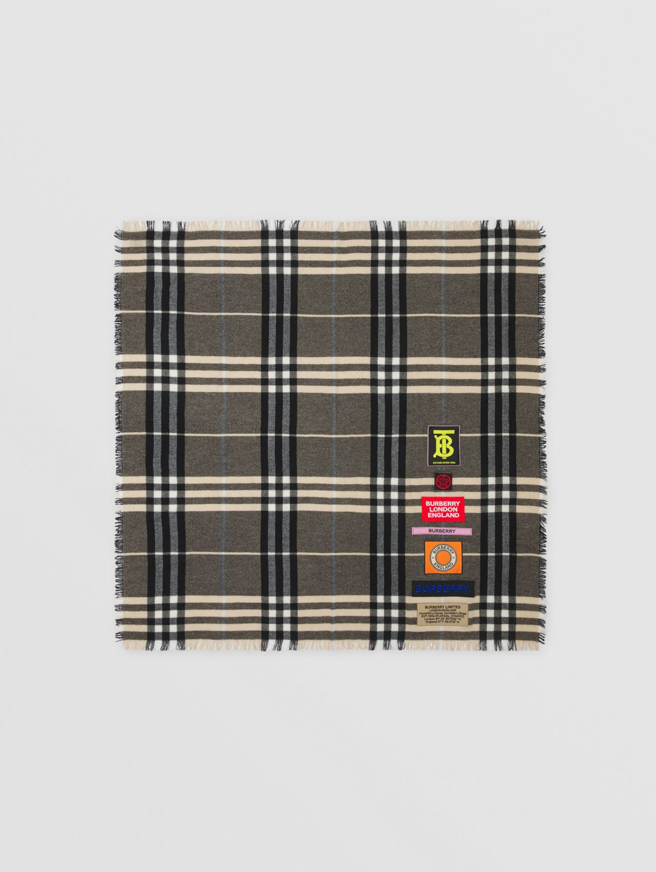 Logo Graphic Check Cashmere Large Square Scarf in Dusty Sand