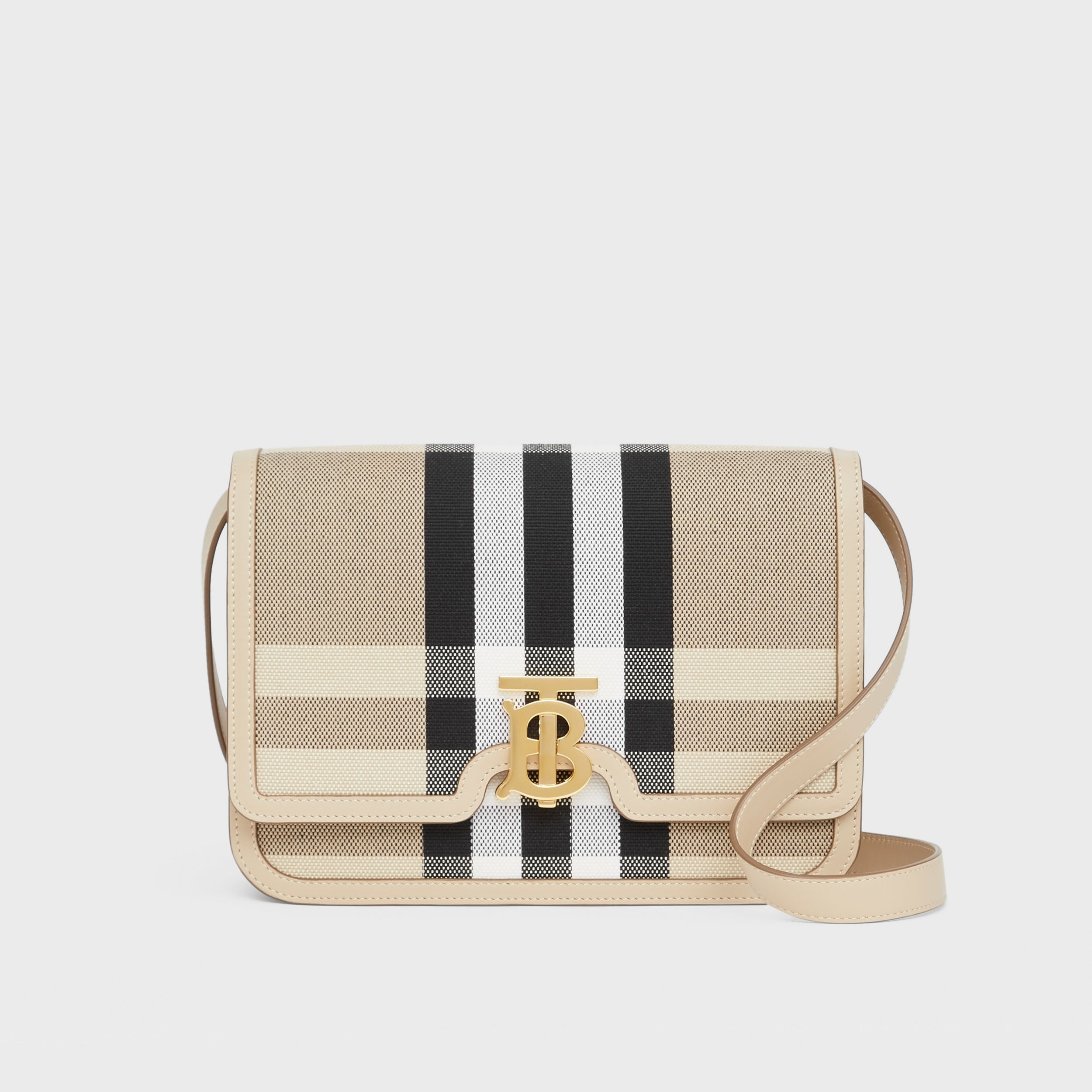 Medium Check Canvas and Leather TB Bag in Dusty Sand/soft Fawn - Women | Burberry - 1