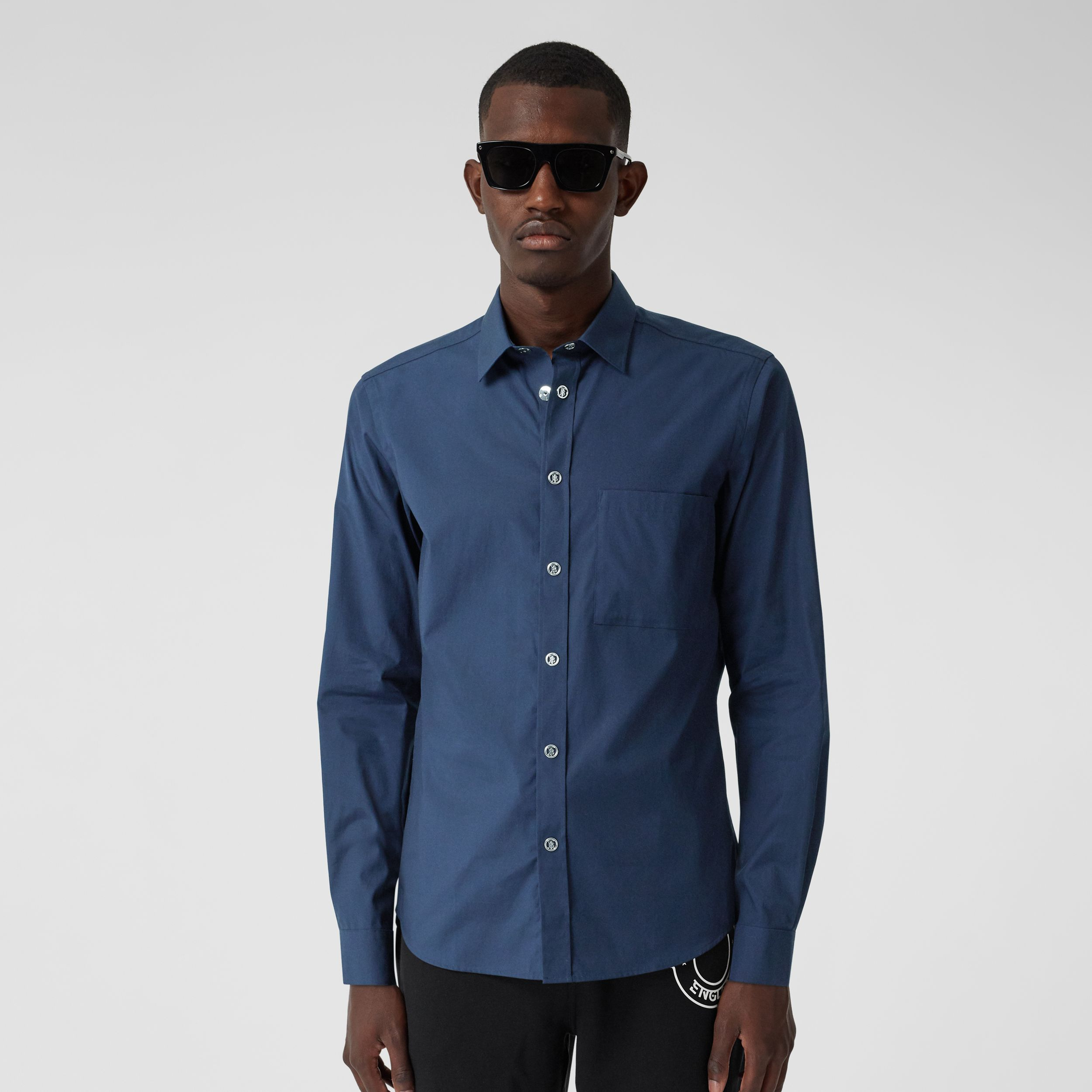 Monogram Motif Stretch Cotton Shirt in Navy - Men | Burberry - 1