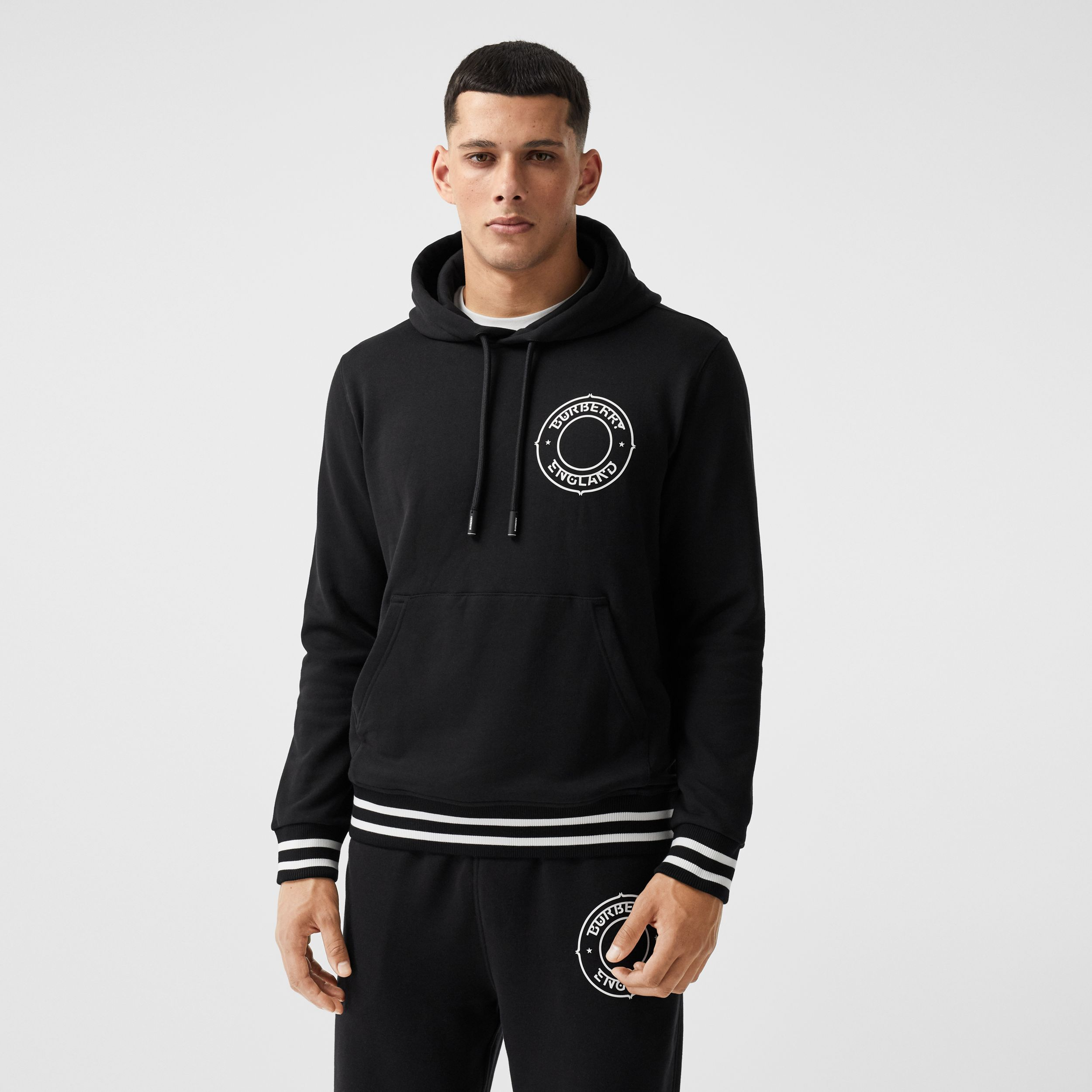 Logo Graphic Cotton Oversized Hoodie in Black - Men | Burberry - 1
