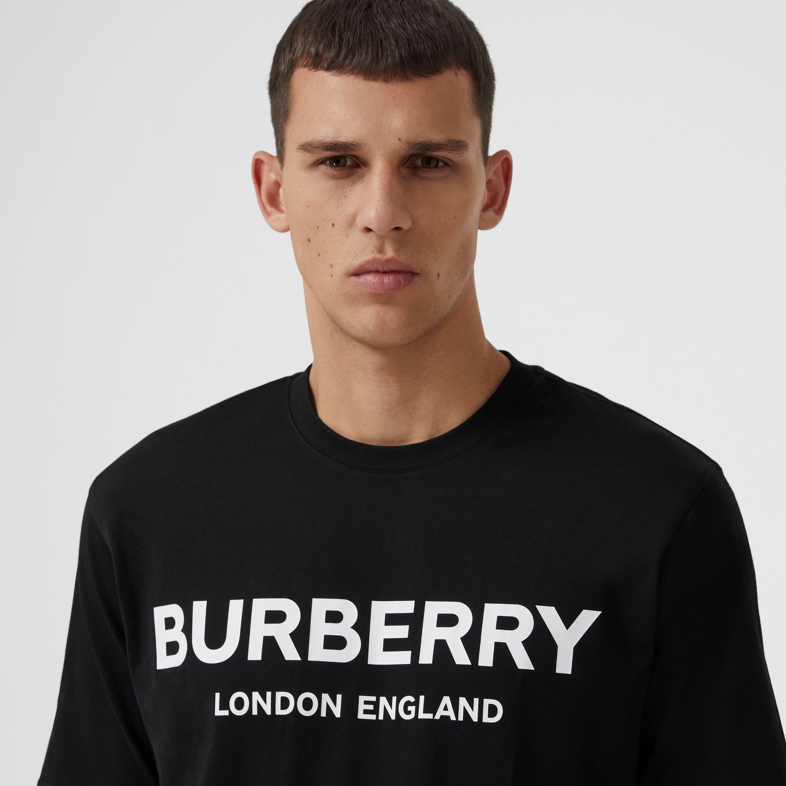 Logo Print Cotton T-shirt in Black - Men | Burberry Hong Kong S.A.R. - 2