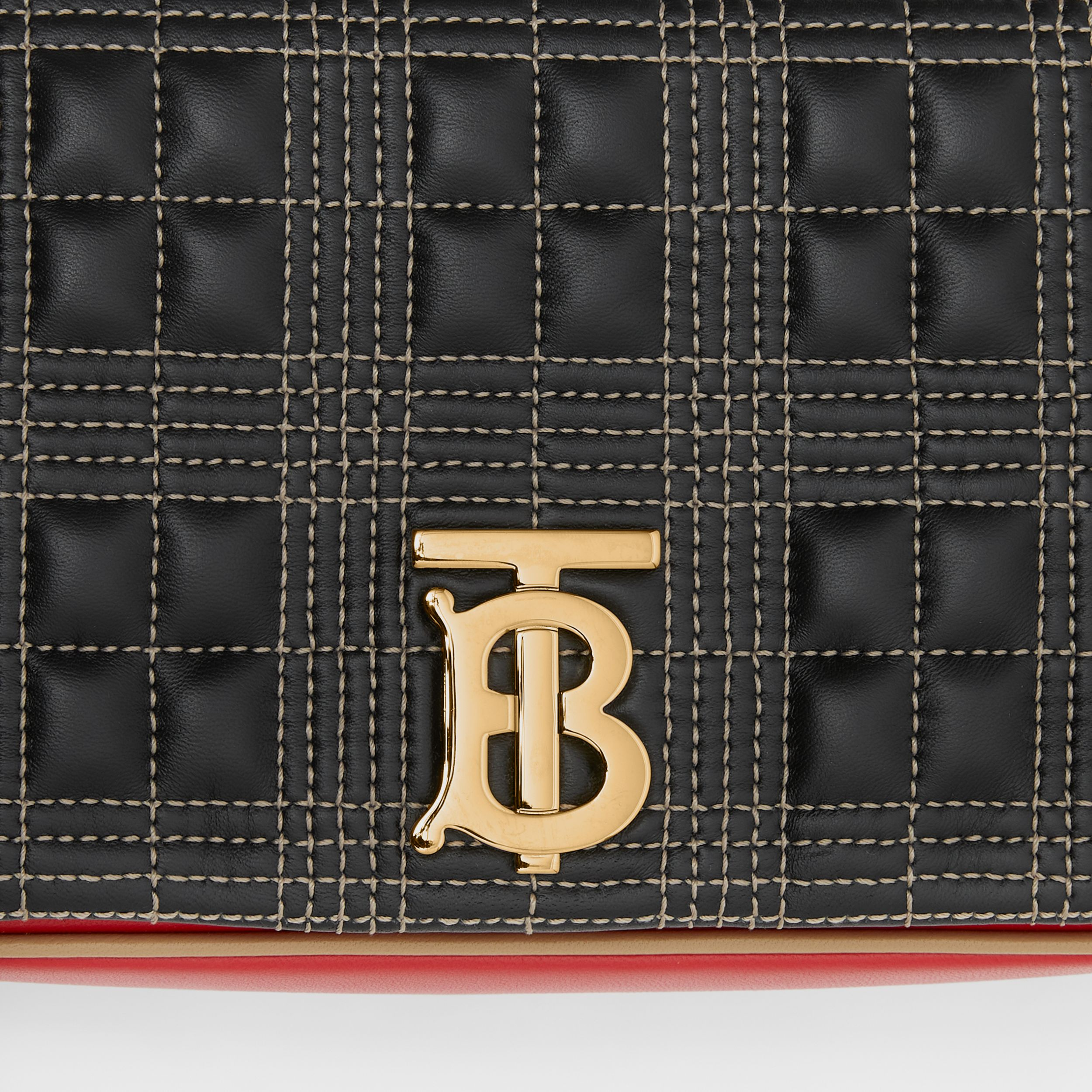 Small Quilted Tri-tone Lambskin Lola Bag in Black/bright Red - Women | Burberry Australia - 2