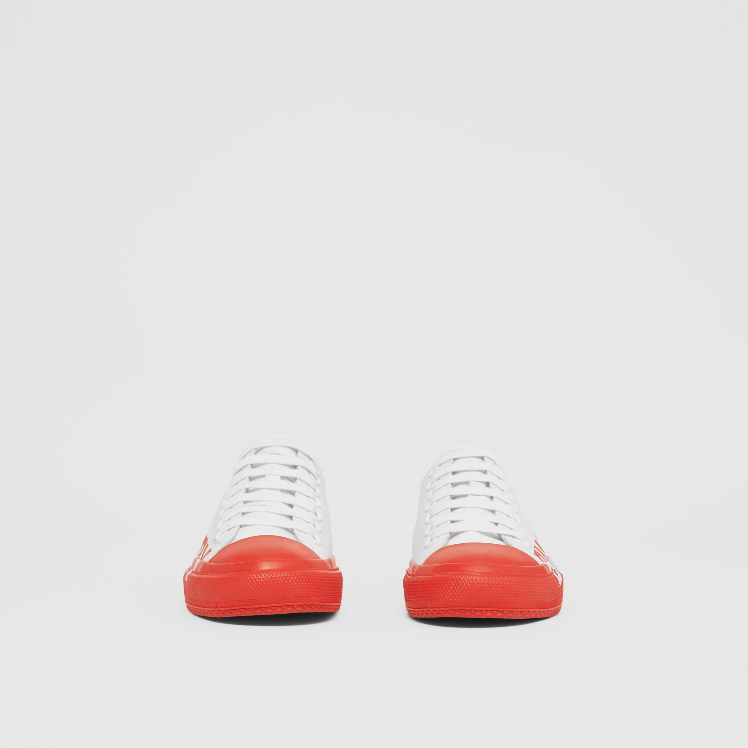 Logo Print Two-tone Cotton Gabardine Sneakers in Optic White/bright Red - Women | Burberry - 4