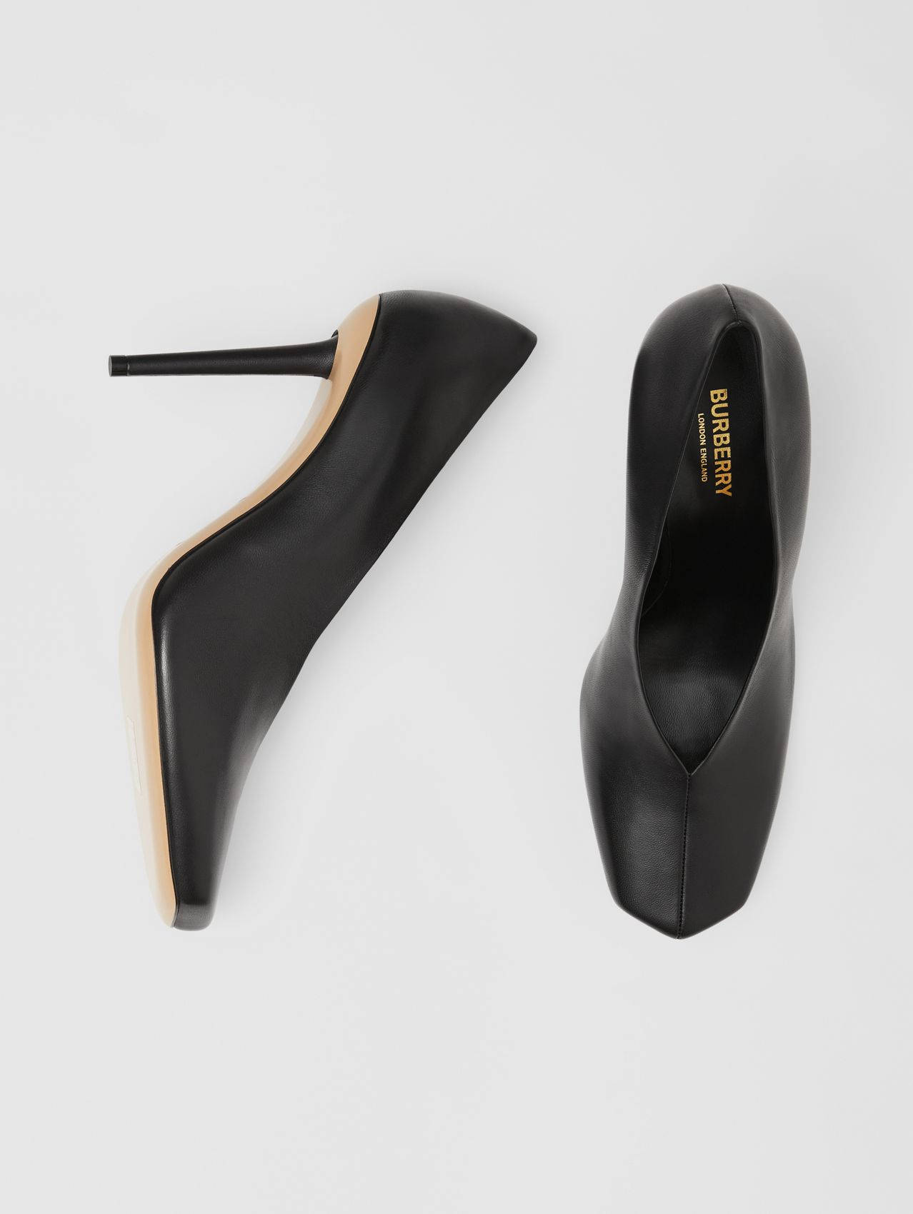 Lambskin Sculptural Pumps in Black