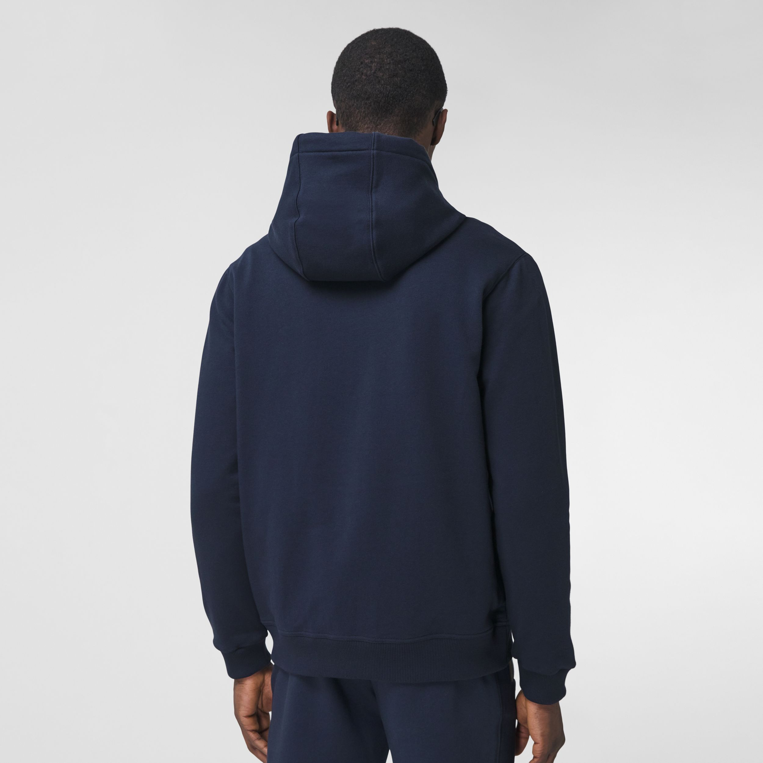 Icon Stripe Detail Cotton Hooded Top in Navy - Men | Burberry United States - 3