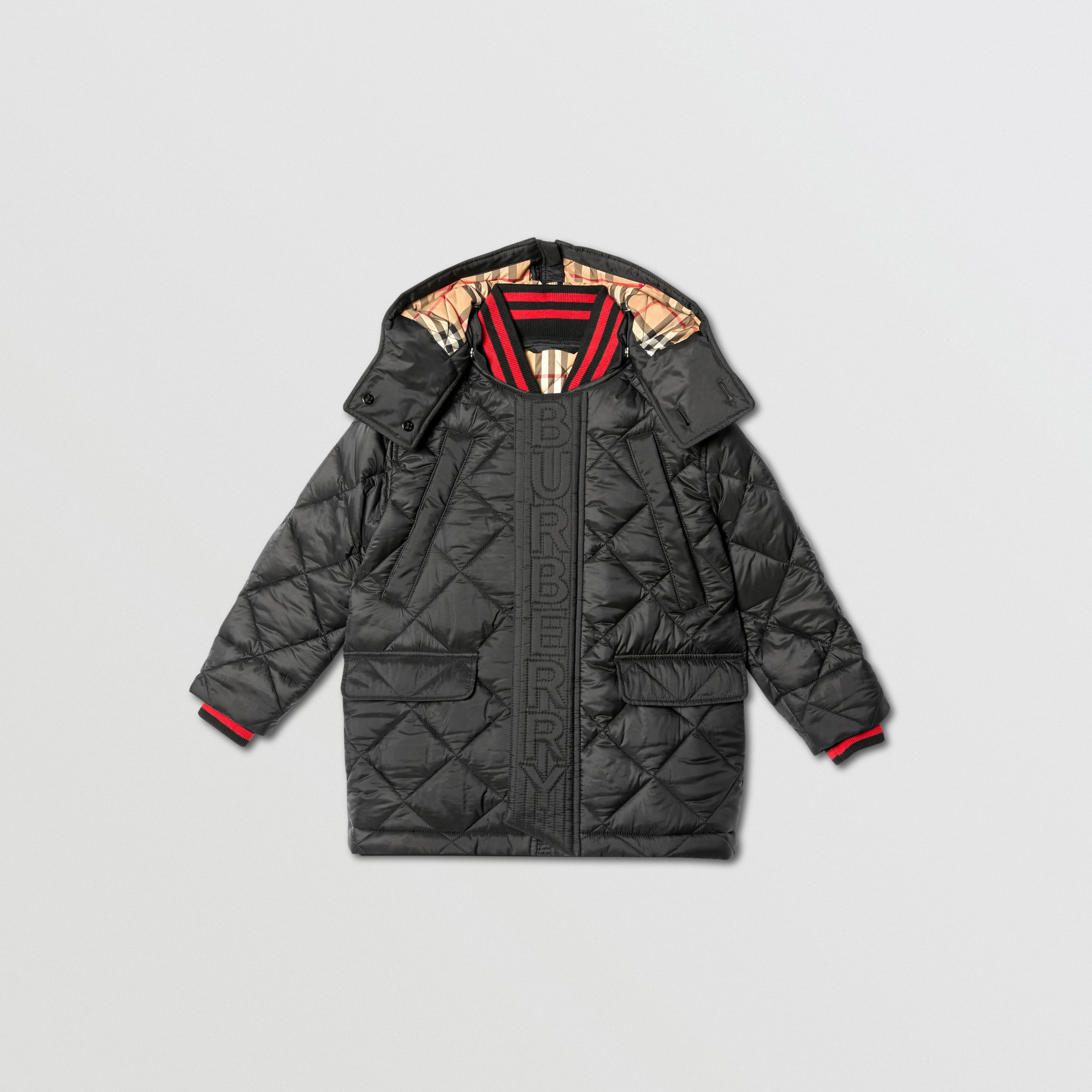 Detachable Hood Logo Detail Diamond Quilted Coat | Burberry United Kingdom - 1