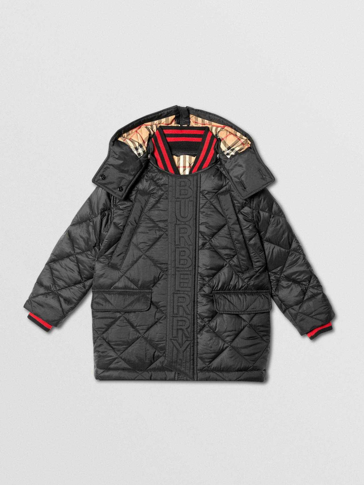 Detachable Hood Logo Detail Diamond Quilted Coat