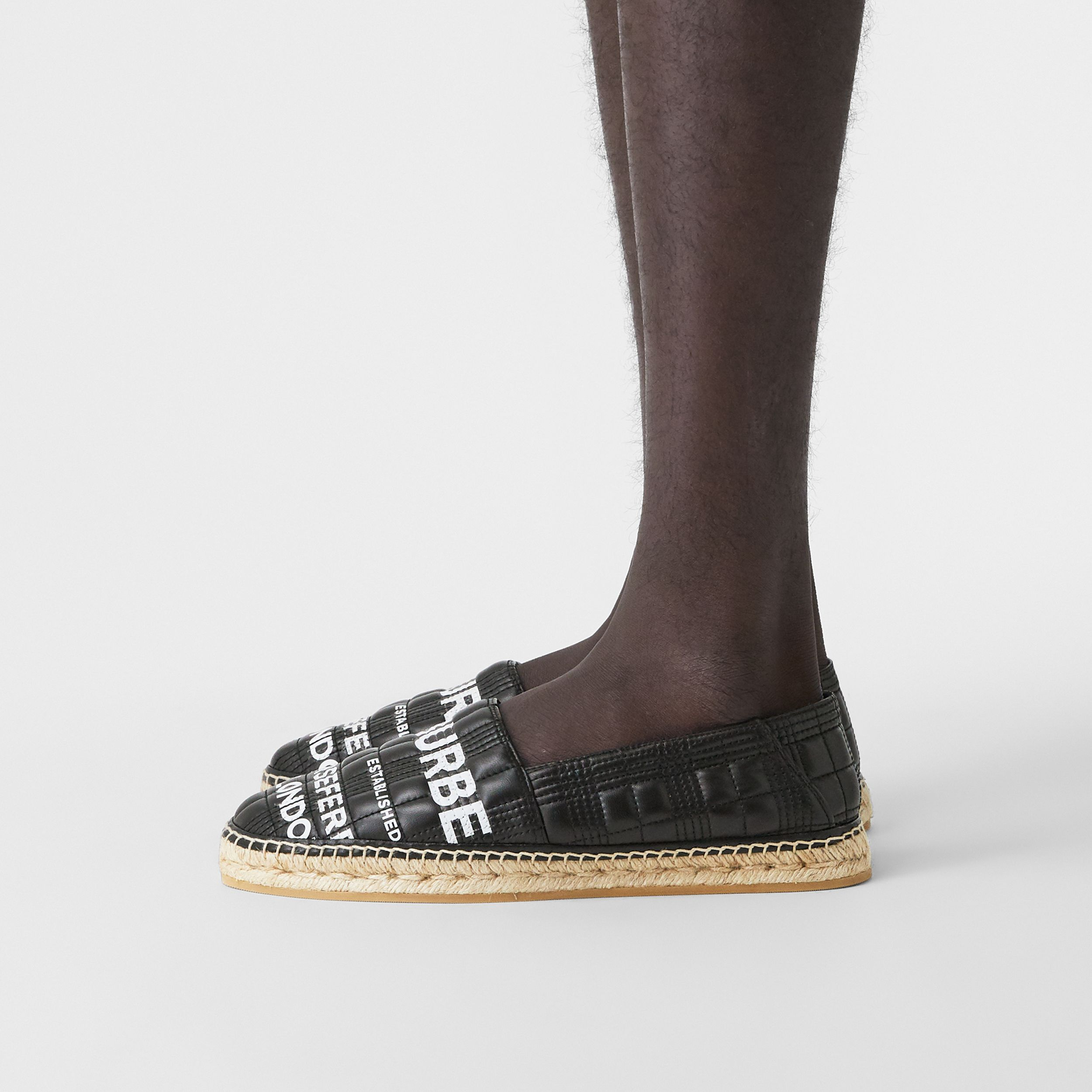 Horseferry Print Quilted Leather Espadrilles in Black - Men | Burberry - 3