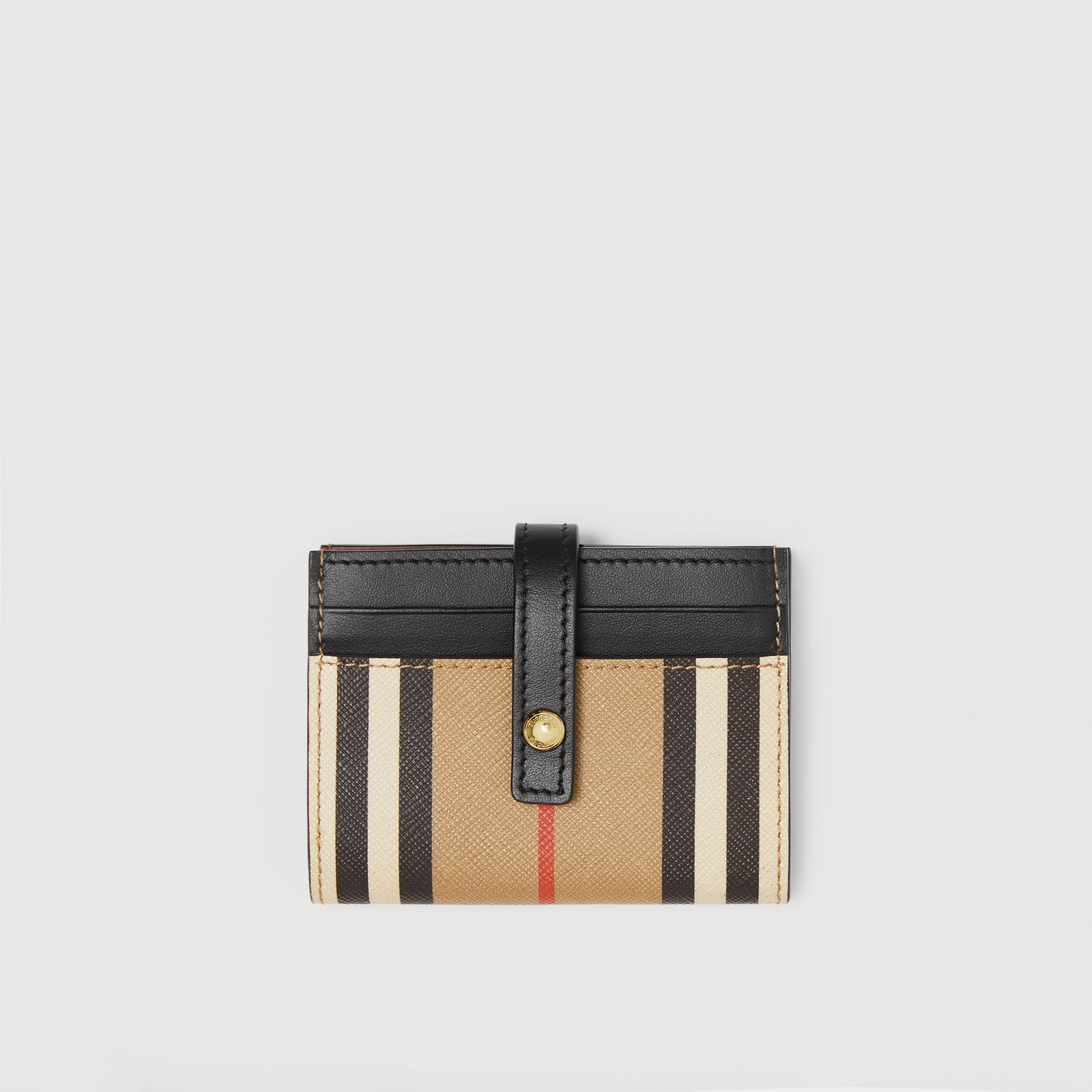 Icon Stripe E-canvas Folding Card Case in Archive Beige - Women | Burberry - 1