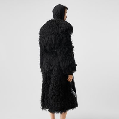 Shearling Trim Vinyl Trench Coat in Black Women | Burberry