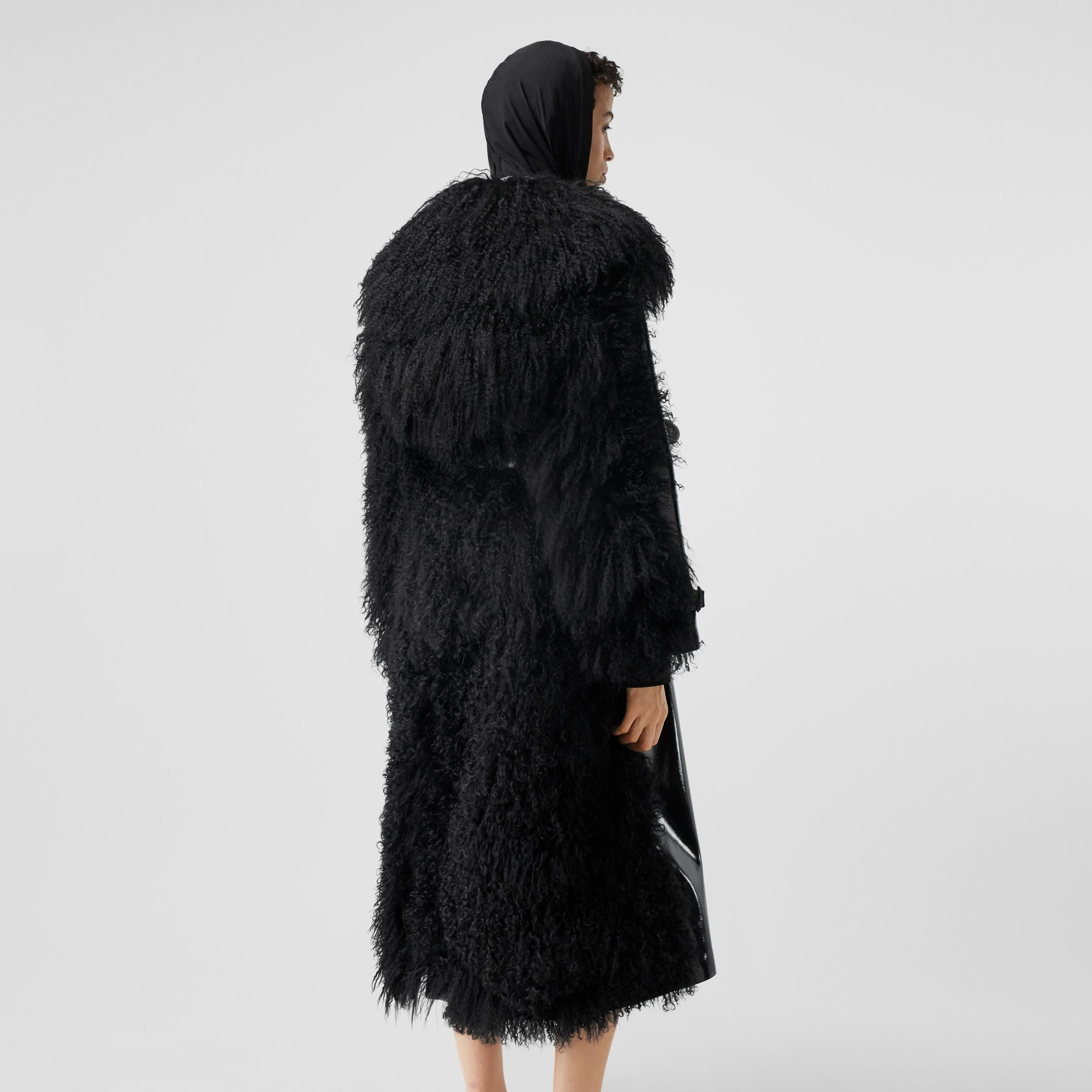 Shearling Trim Vinyl Trench Coat in Black - Women | Burberry - 3