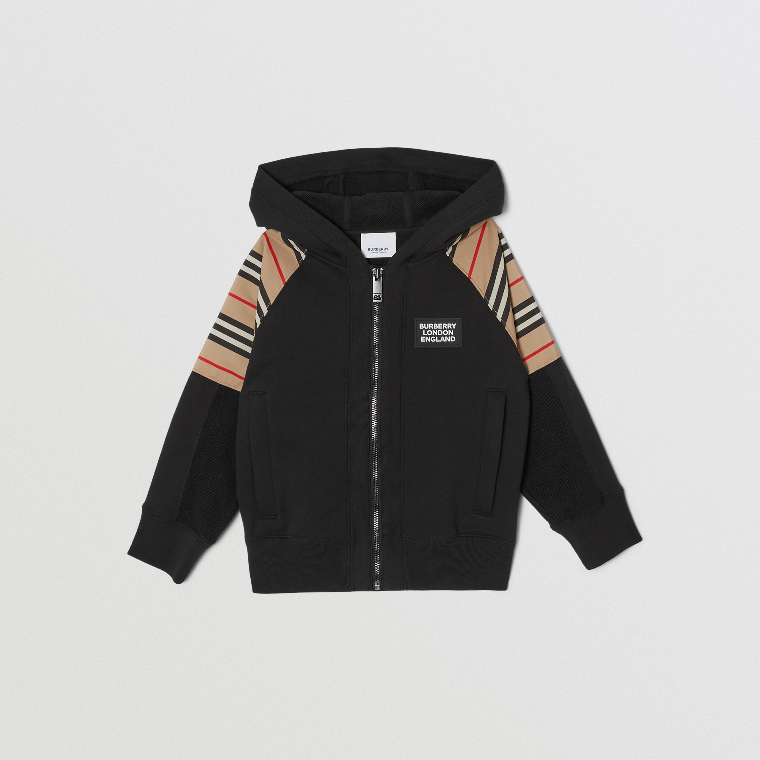 Icon Stripe Panel Cotton Hooded Top in Black | Burberry Singapore - 1
