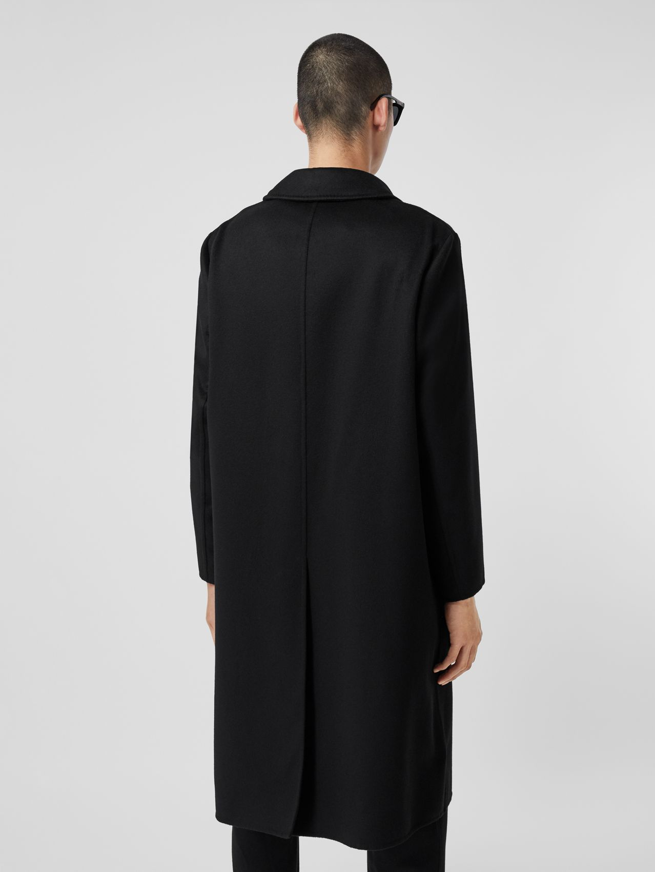 Monogram Detail Double-faced Cashmere Car Coat in Black