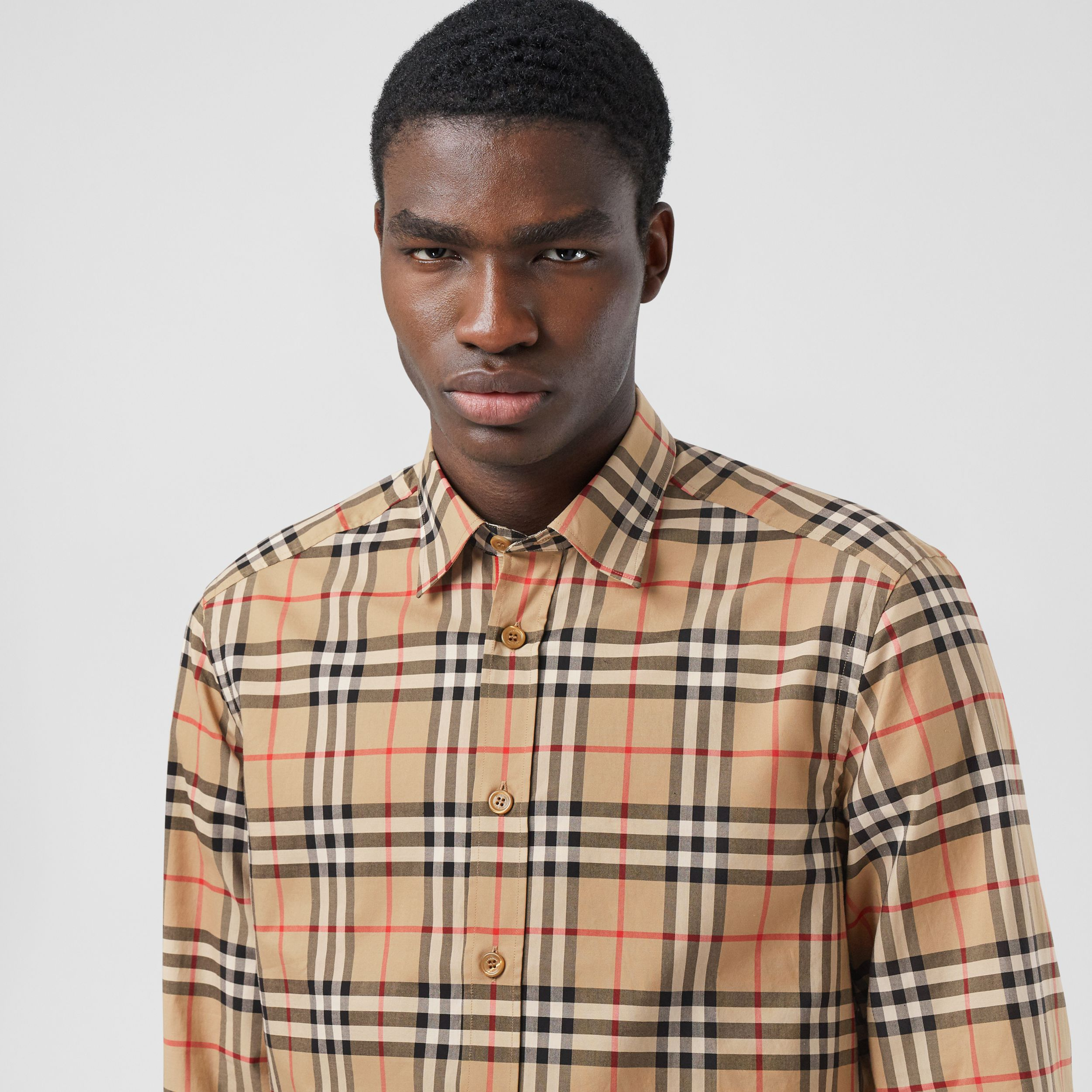 Icon Stripe Cuff Vintage Check Cotton Shirt in Archive Beige - Men | Burberry - 2