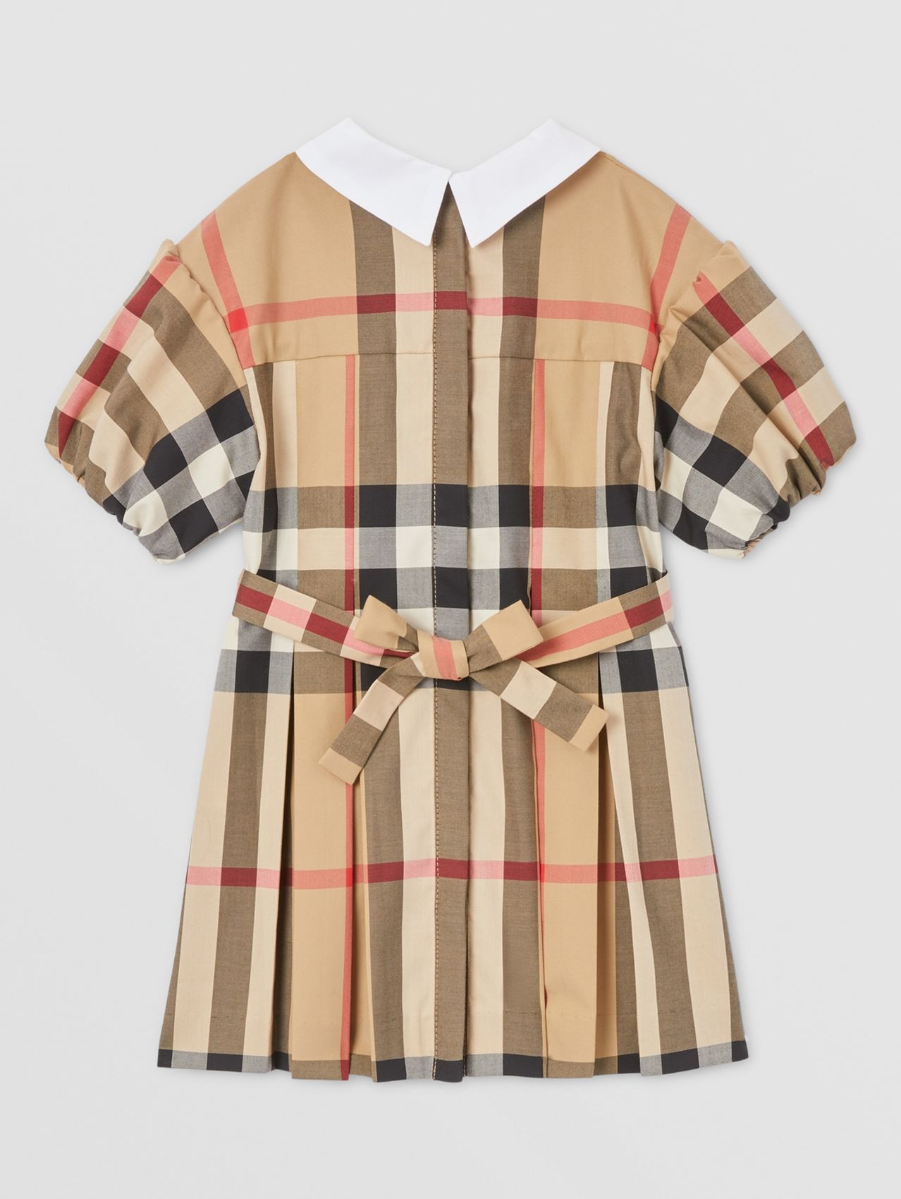 Puff-sleeve Check Stretch Cotton Dress in Archive Beige