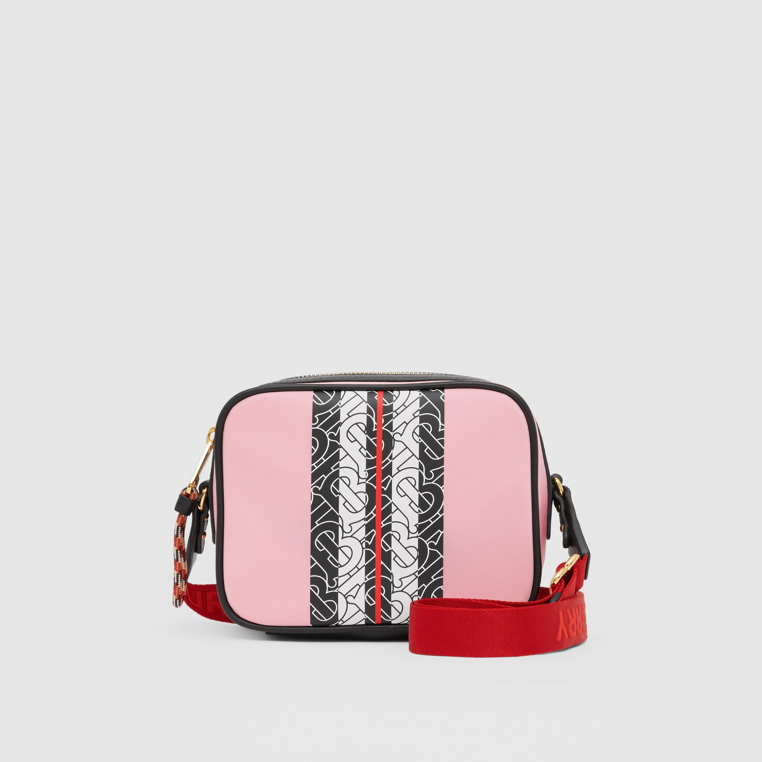 Monogram Stripe Print ECONYL® Camera Bag in Candy Pink - Children | Burberry - 1