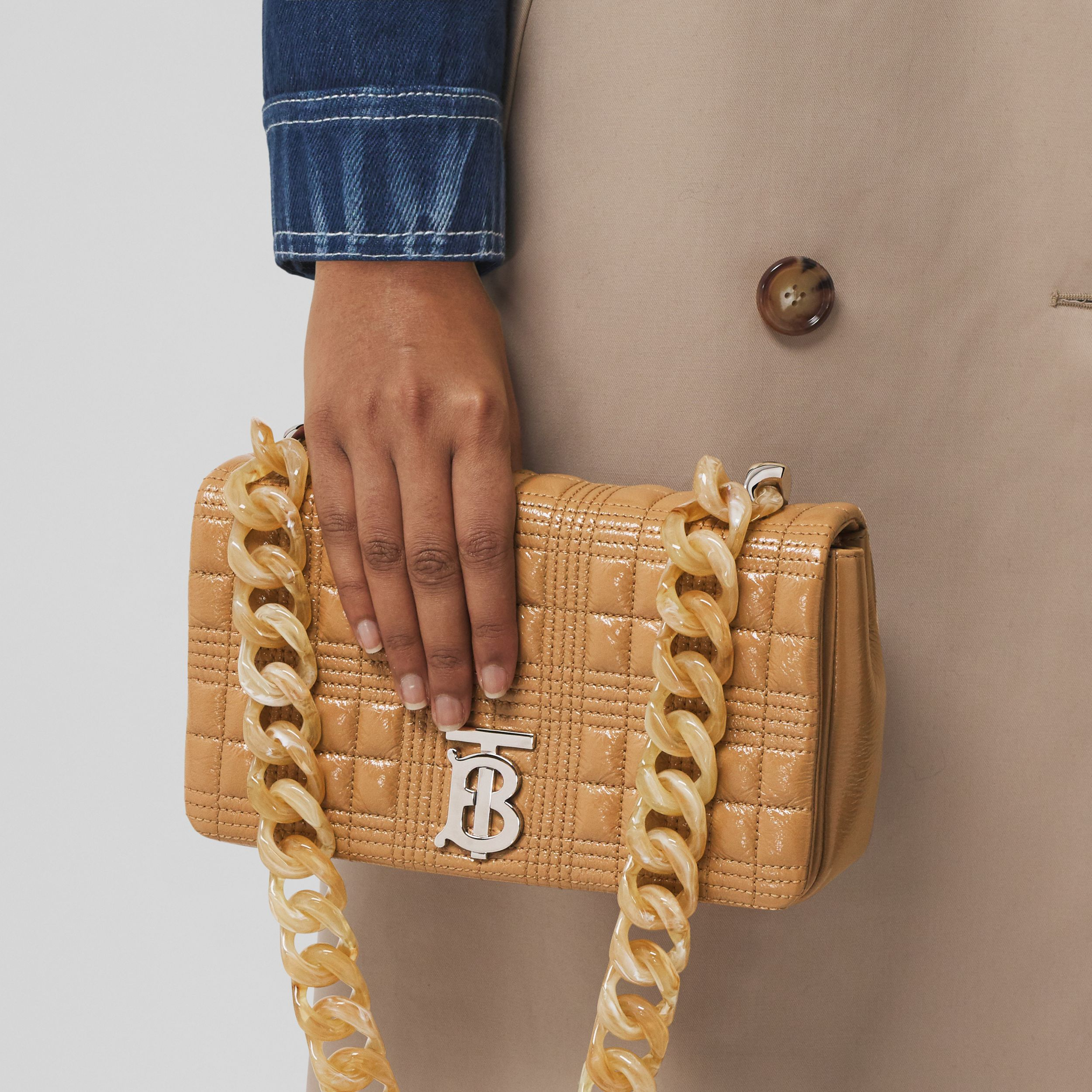 Small Quilted Lambskin Lola Bag in Camel - Women | Burberry United Kingdom - 3