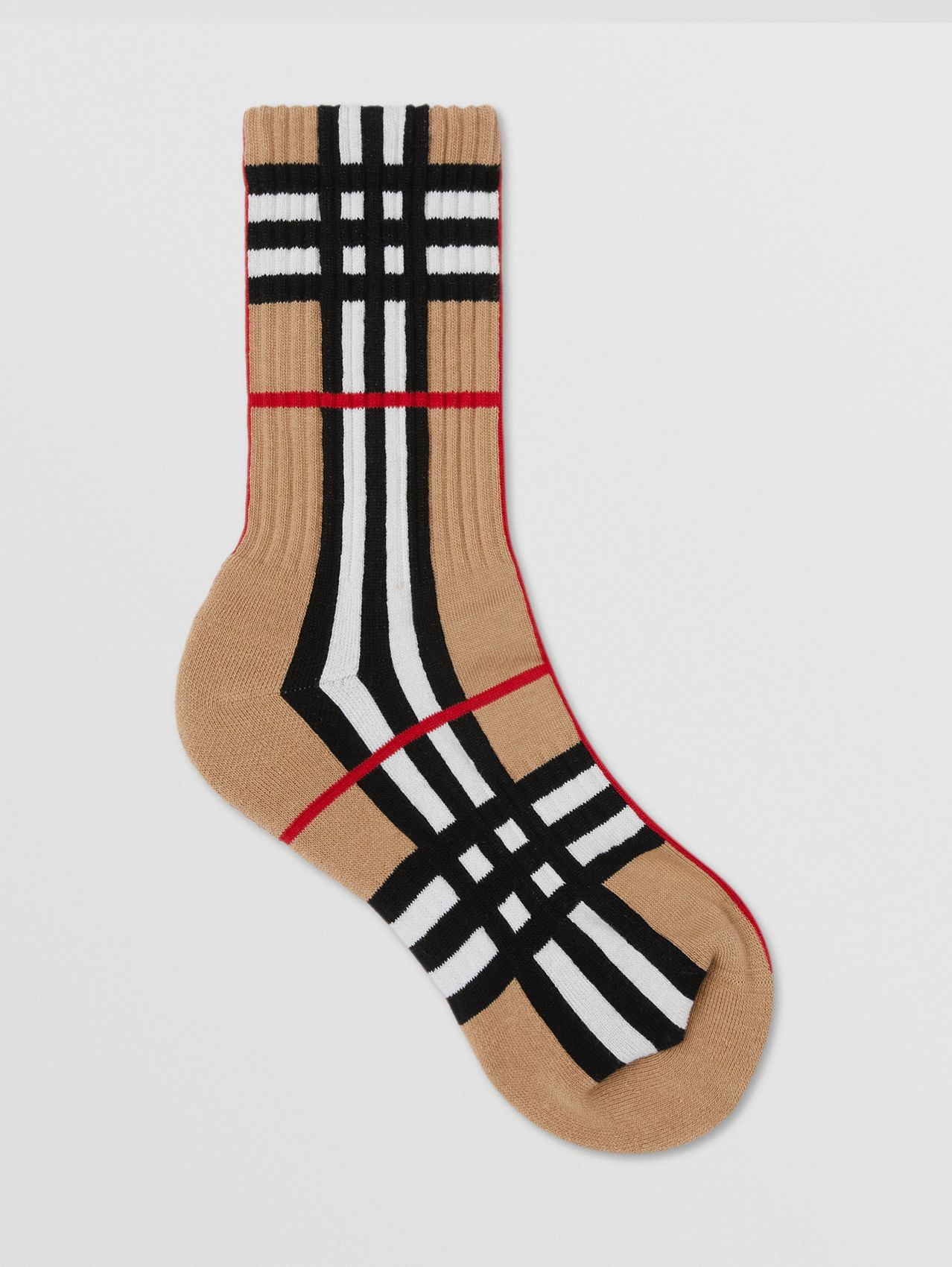 Check Intarsia Technical Stretch Cotton Socks in Archive Beige