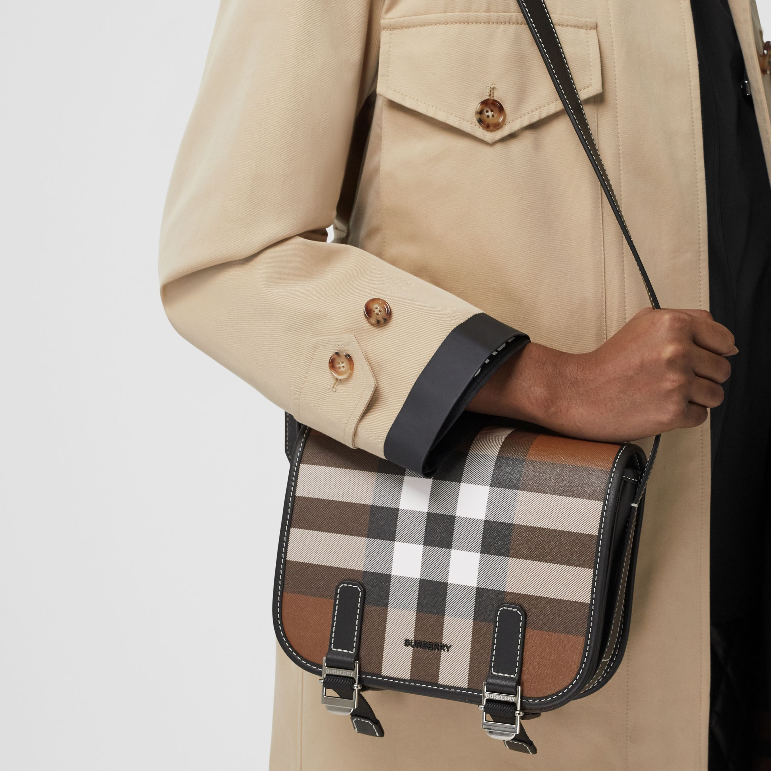 Check E-canvas Messenger Bag in Dark Birch Brown - Men | Burberry United Kingdom - 3