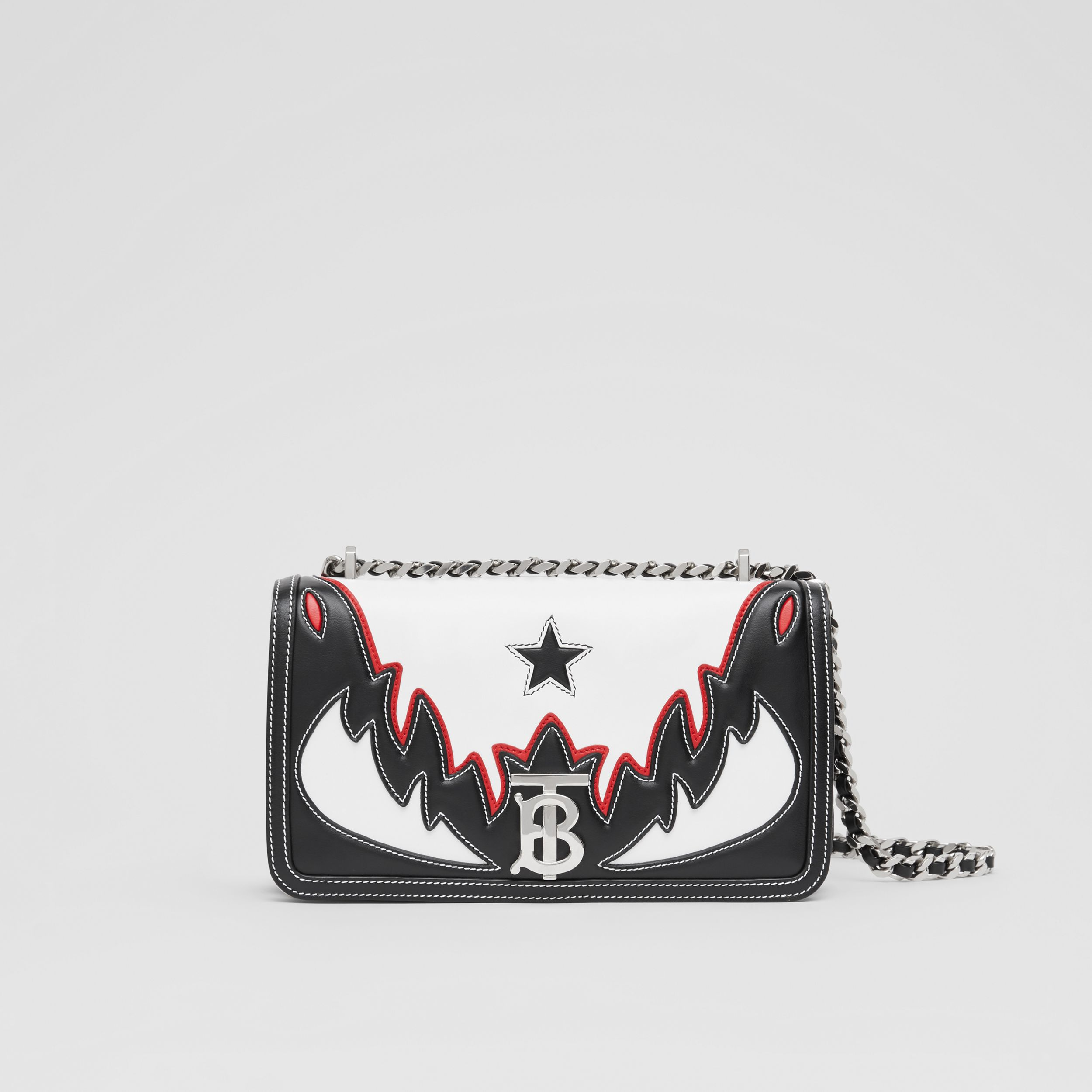 Small Topstitch Appliqué Leather Lola Bag in White/black/red - Women | Burberry - 1