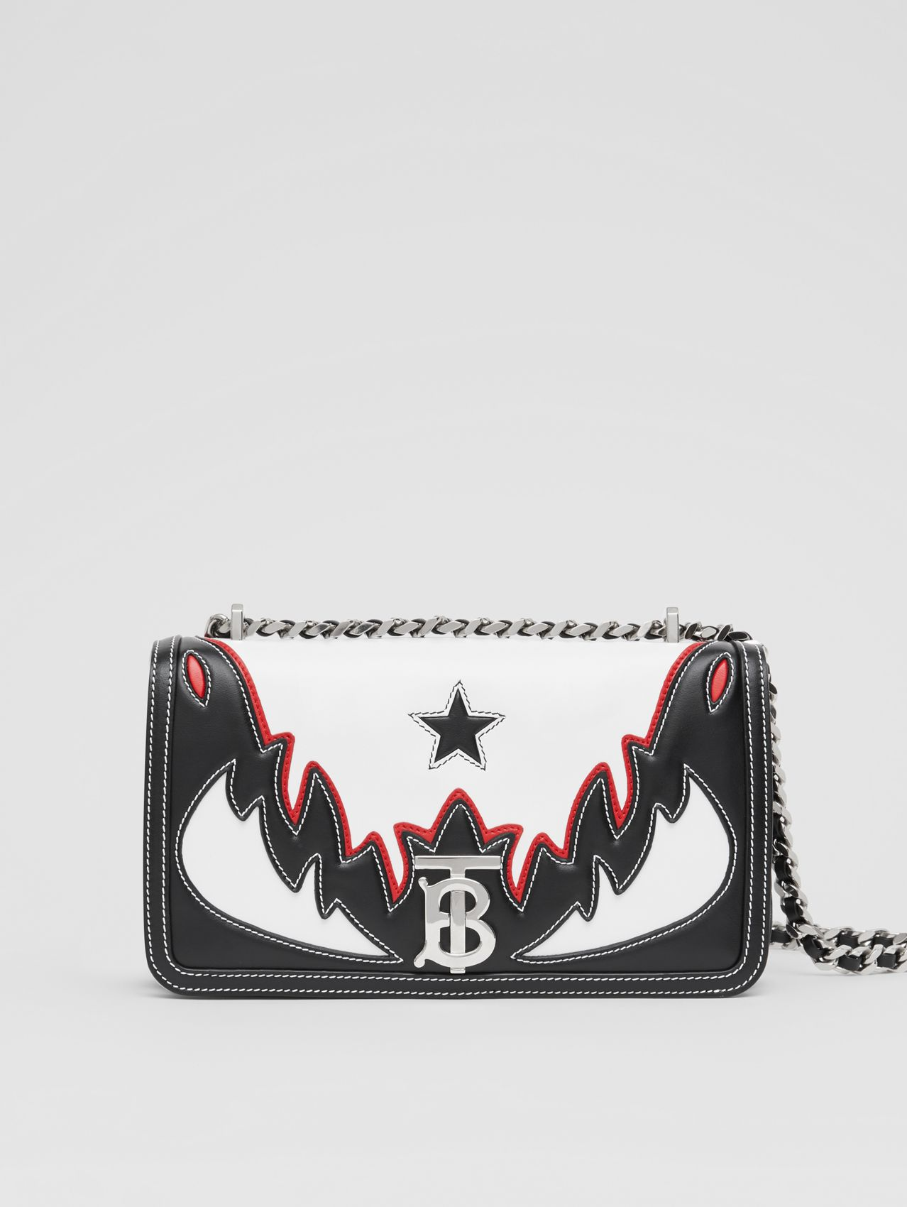 Small Topstitch Appliqué Leather Lola Bag (White/black/red)